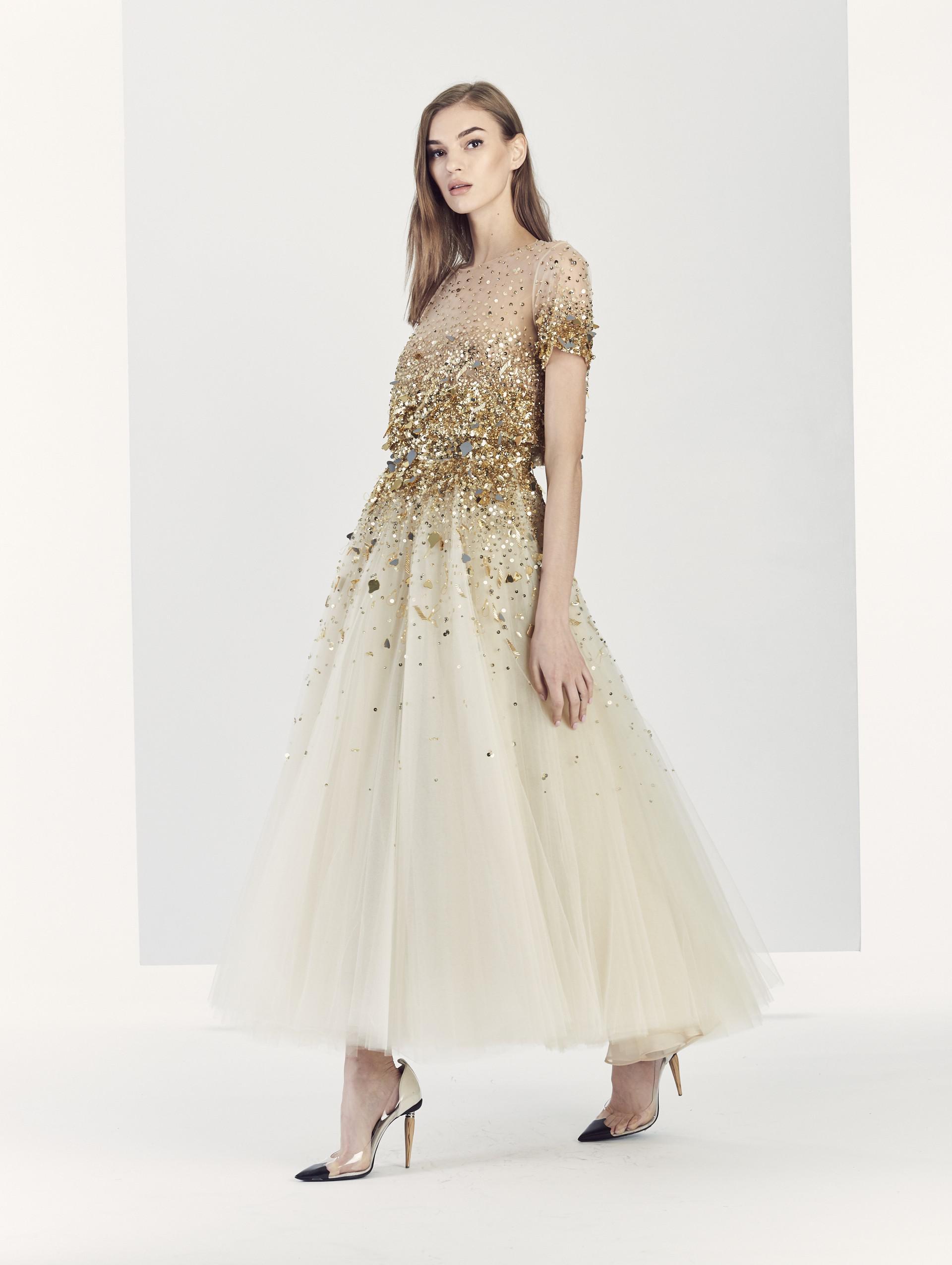 1ce6c699b9f Oscar de la Renta Dégradé Embroidered Tulle Tea-length Gown in ...