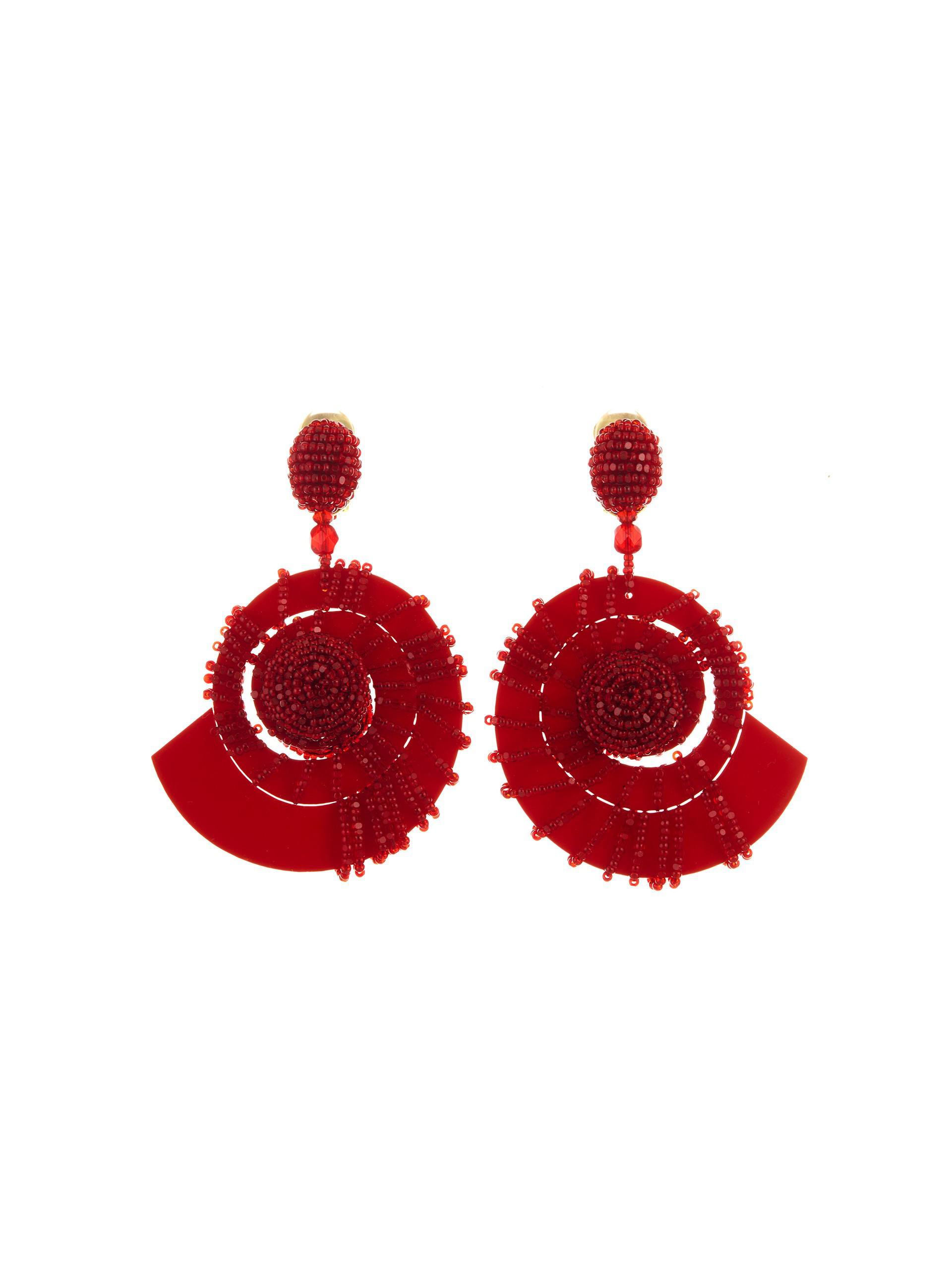 beaded seashell earrings - Red Oscar De La Renta 0RmIGDRdK