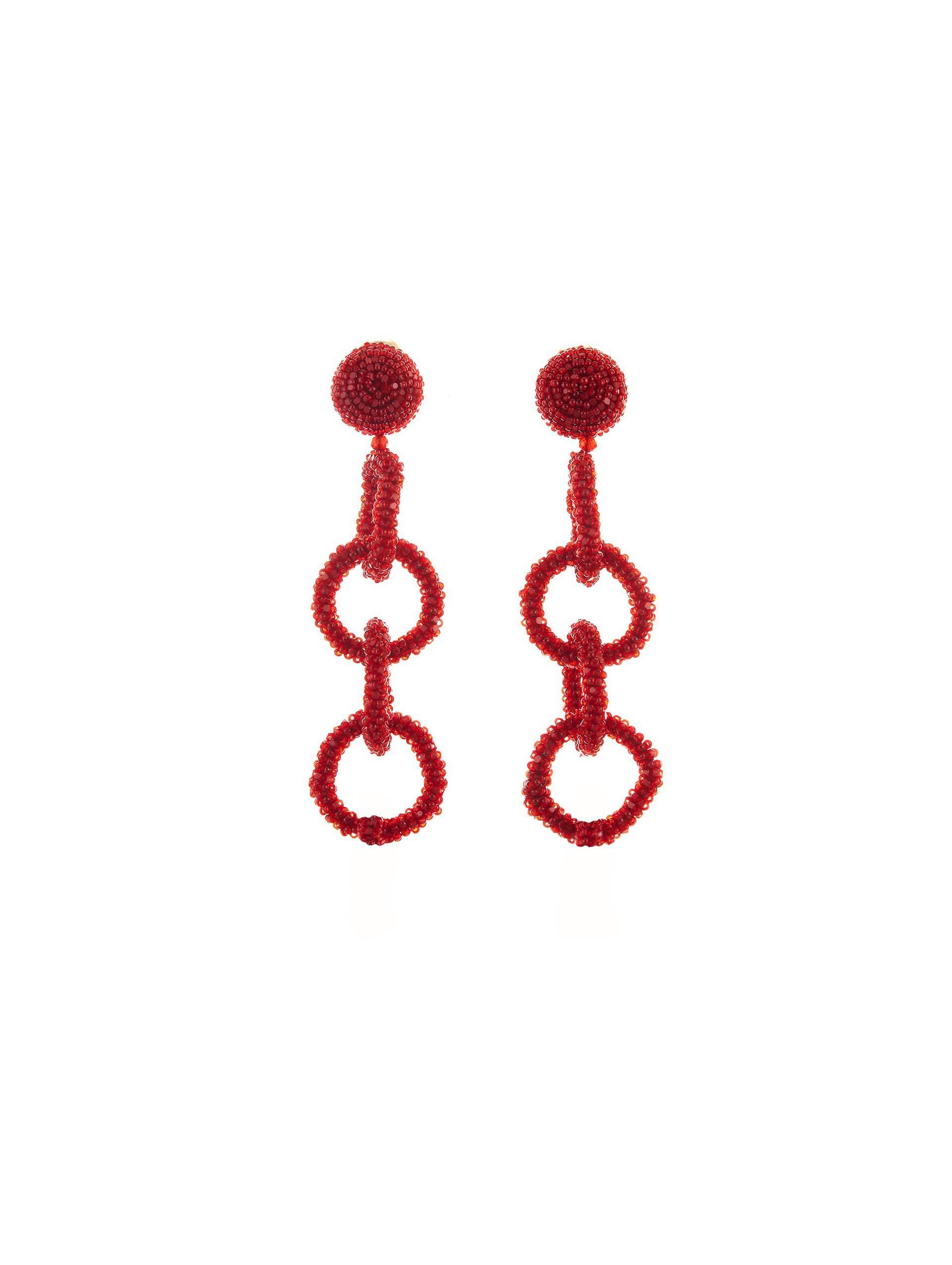 Lyst Oscar De La Renta Black Beaded Four Hoop Earrings