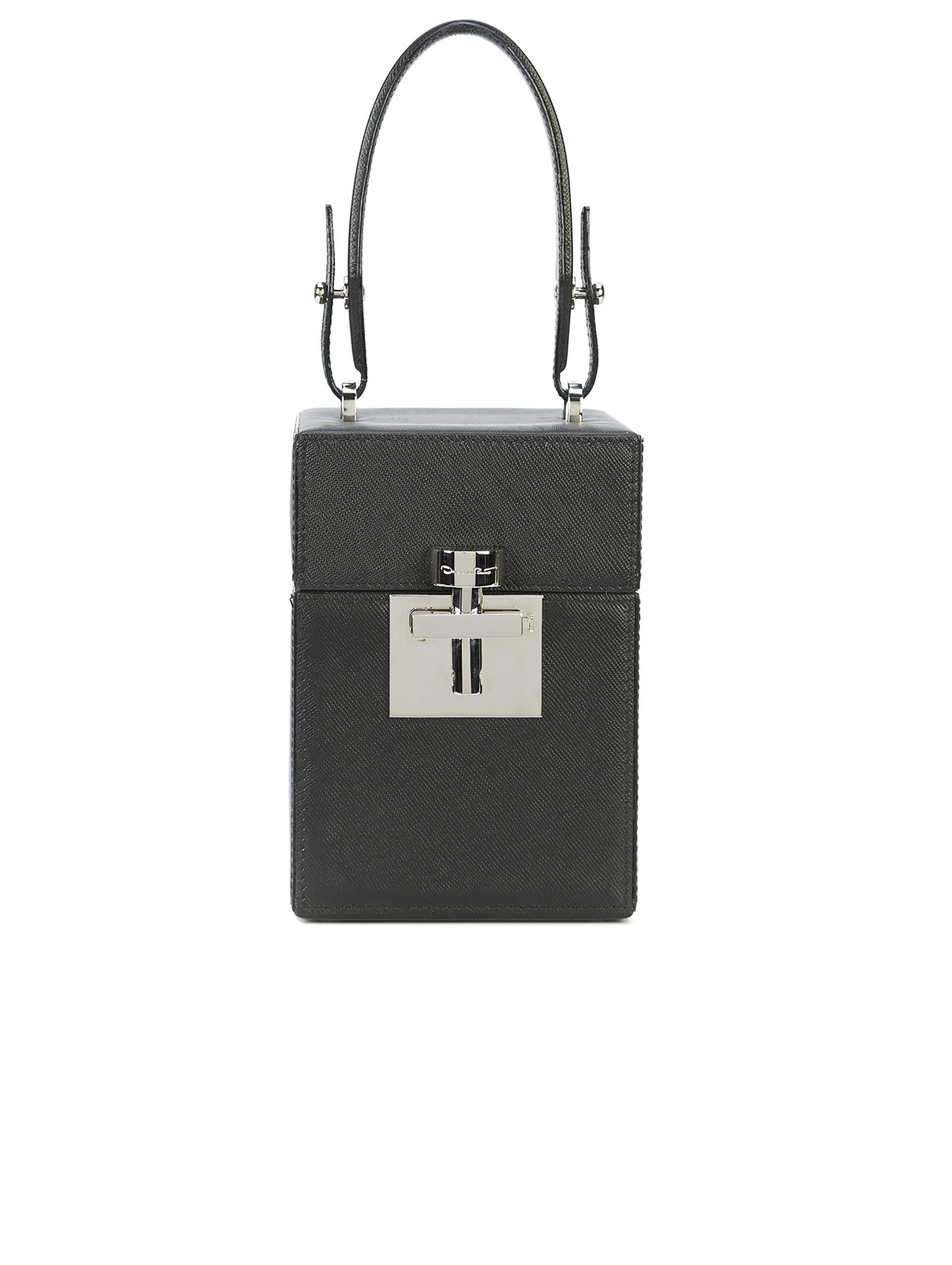 4a6992f7502 Oscar De La Renta Black   Silver Saffiano Mini Alibi Bag in Black - Lyst