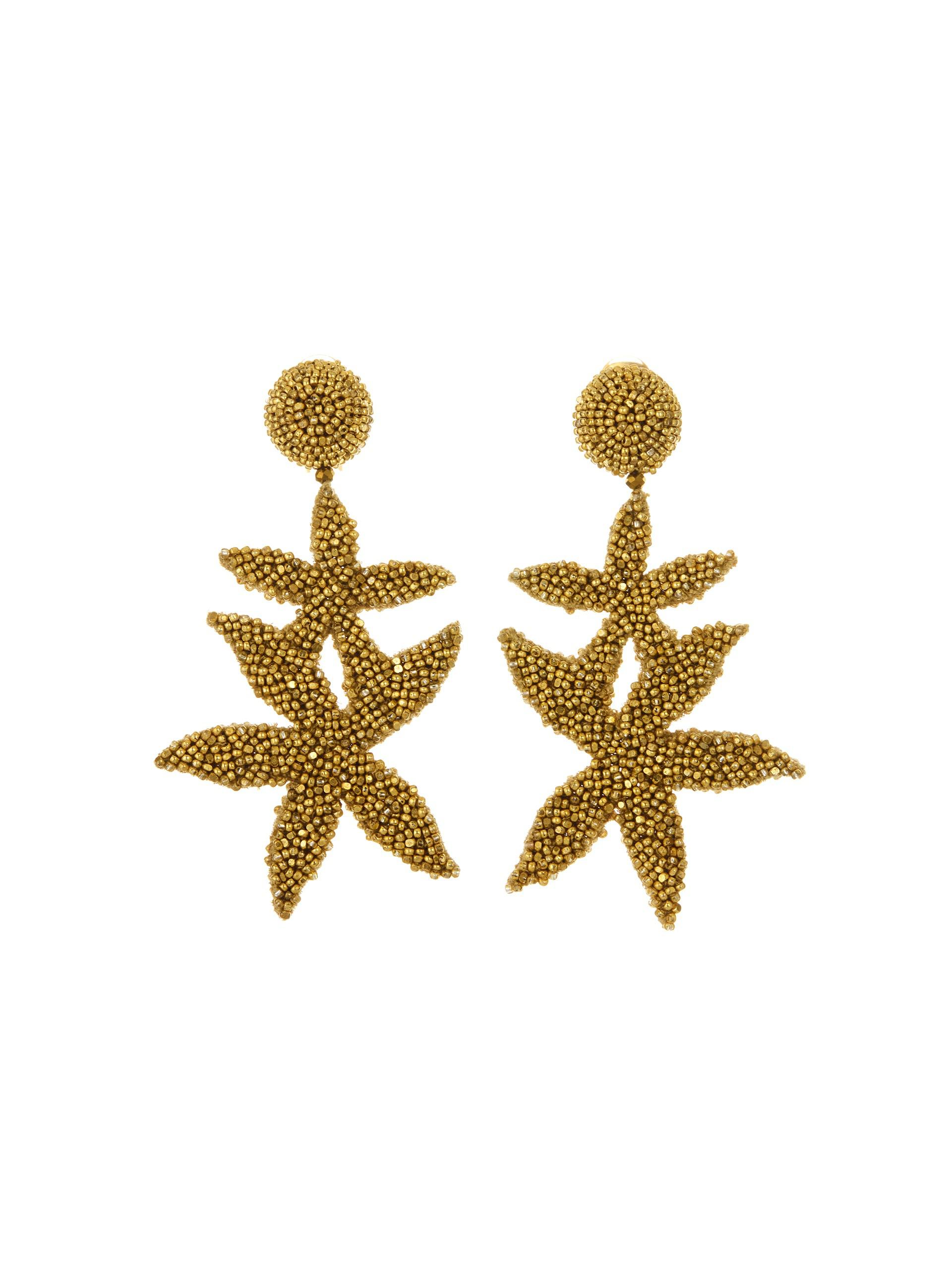 Oscar De La A Women S Metallic Gold Double Starfish Earrings