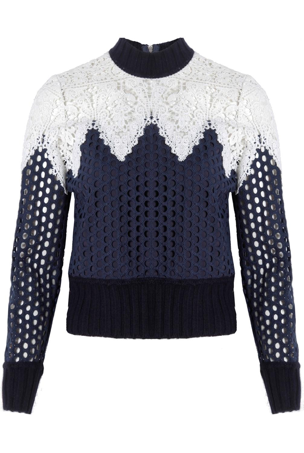 Sea Woman Corded Lace-paneled Brushed Cable-knit Sweater Midnight Blue Size M Sea New York Manchester Cheap Online Outlet Where To Buy Cheap 2018 Unisex Buy Cheap Perfect TdHkjTQk