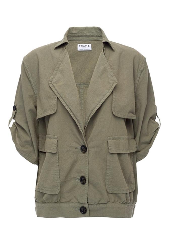 Lyst Frame Oversized Jacket In Olive Olive Denim In