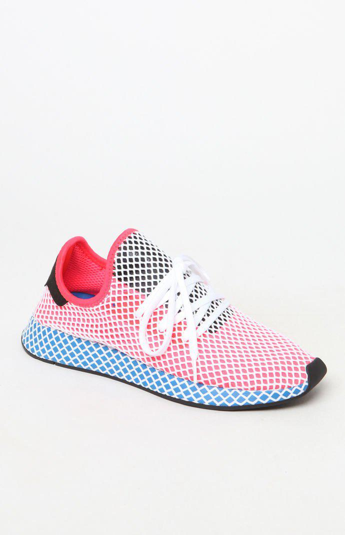 f57c7327e Lyst - Adidas Deerupt Runner Red   Blue Shoes in Red for Men