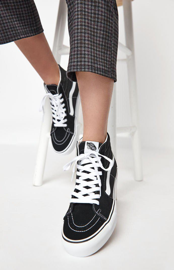 9bd8c03233 Lyst - Vans Women s Black   White Sk8-hi Platform Sneakers in White