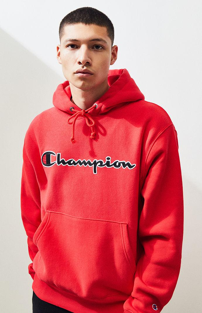 6e2ad7983bc1 Lyst - Champion Reverse Weave Chenille Script Pullover Hoodie in Red ...