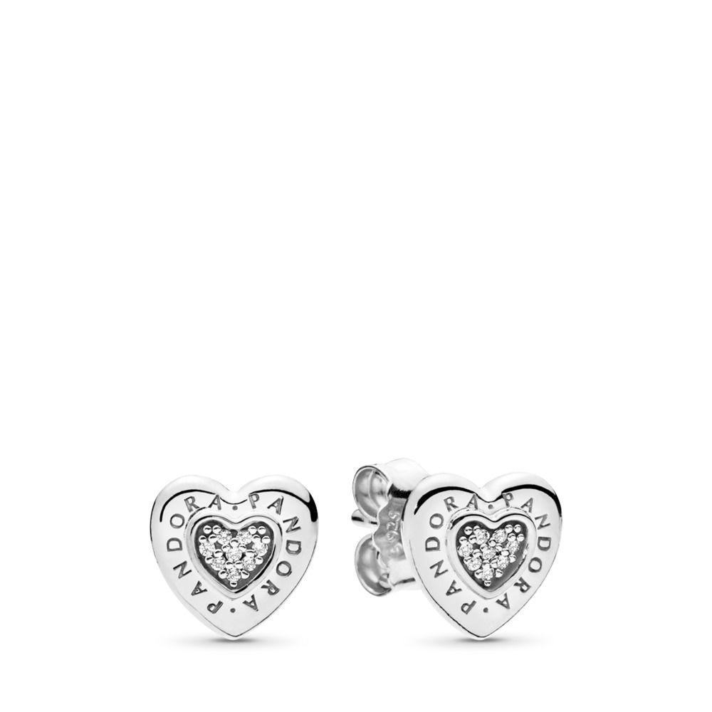 5d02b002b PANDORA Signature Heart Stud Earrings in Metallic - Save 49% - Lyst