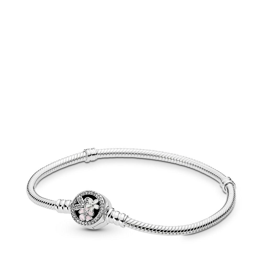 6d1a342f6 PANDORA. Women's Metallic Moments Silver Bracelet With Poetic Blooms Clasp
