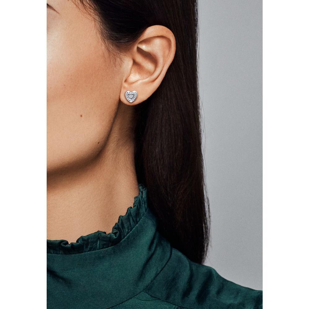 018122d05 Pandora - Metallic Signature Heart Stud Earrings - Lyst. View fullscreen