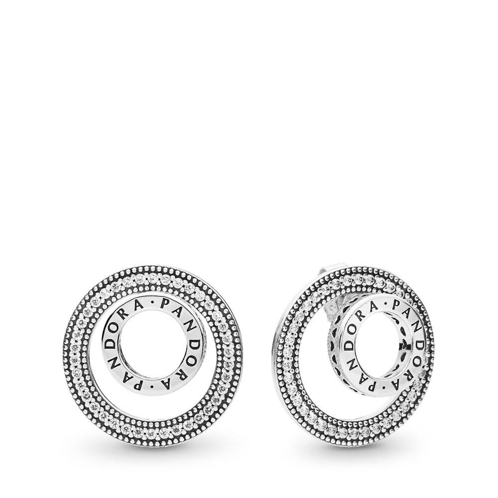 caf0f0671 PANDORA Forever Signature Earrings in Metallic - Lyst