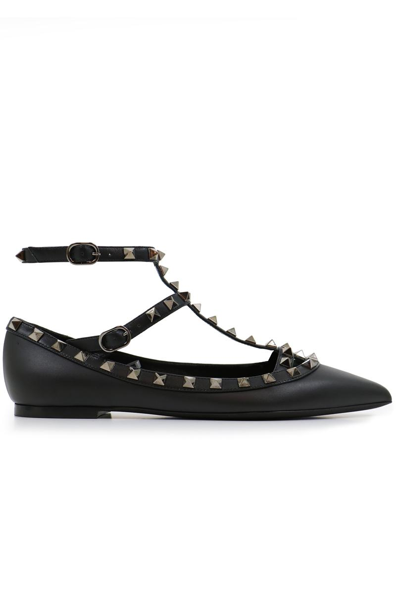 valentino noir rockstud ballerina flats smooth leather black in black lyst. Black Bedroom Furniture Sets. Home Design Ideas