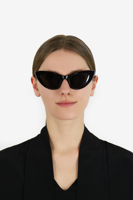 11edbd5e65 Lyst - Saint Laurent Lily Cat Eye Sunglasses Shiny Black grey in Black