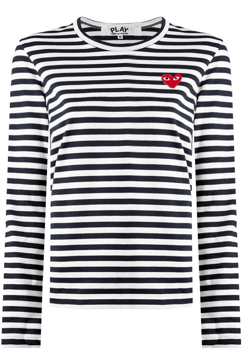 4d82b1d7c3c8 Comme des Garçons Play Long Sleeve Black Striped T-shirt Red Heart ...