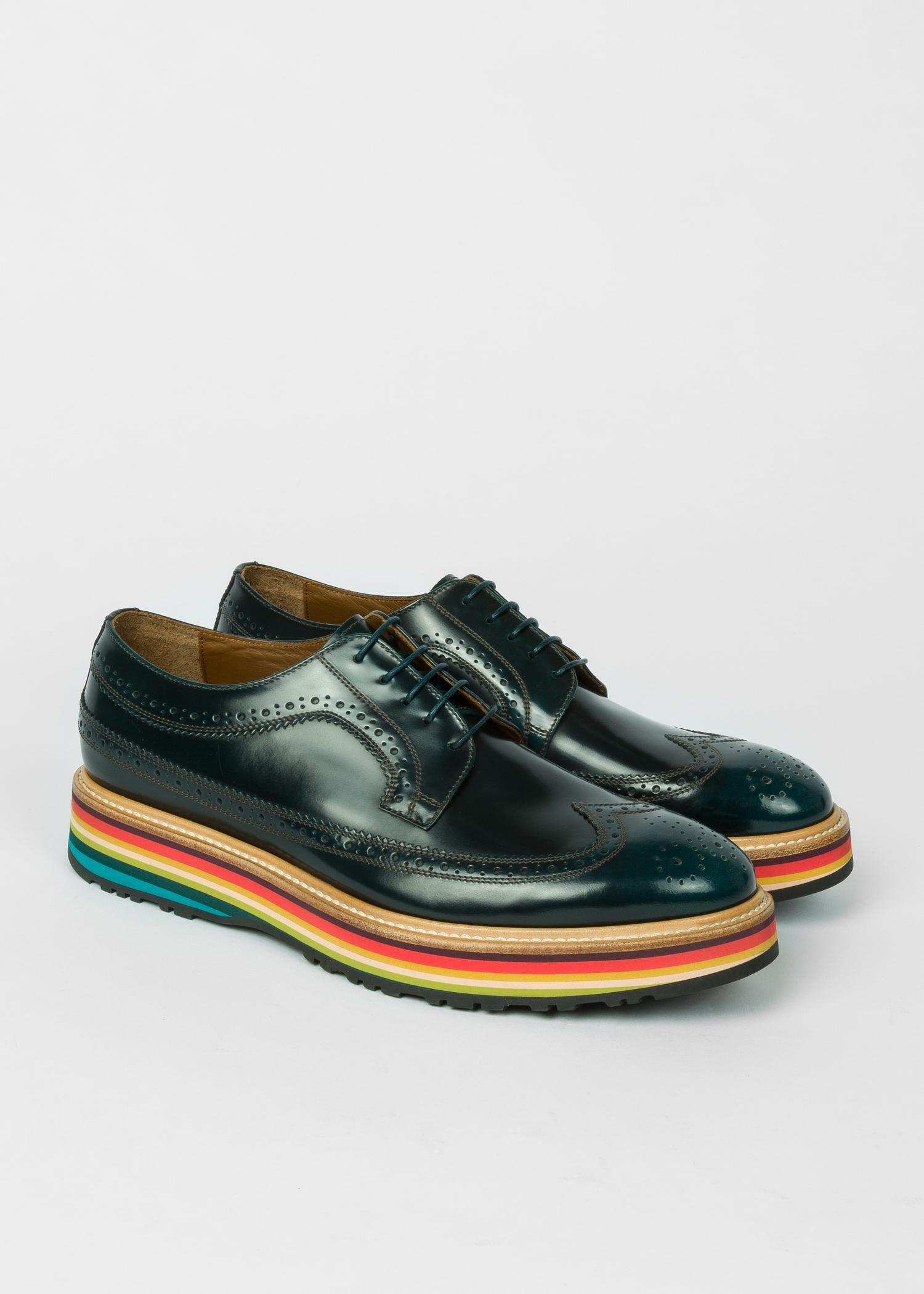 ae22928f50c Paul Smith Dark Green Leather 'Grand' Brogues With Striped Soles in ...