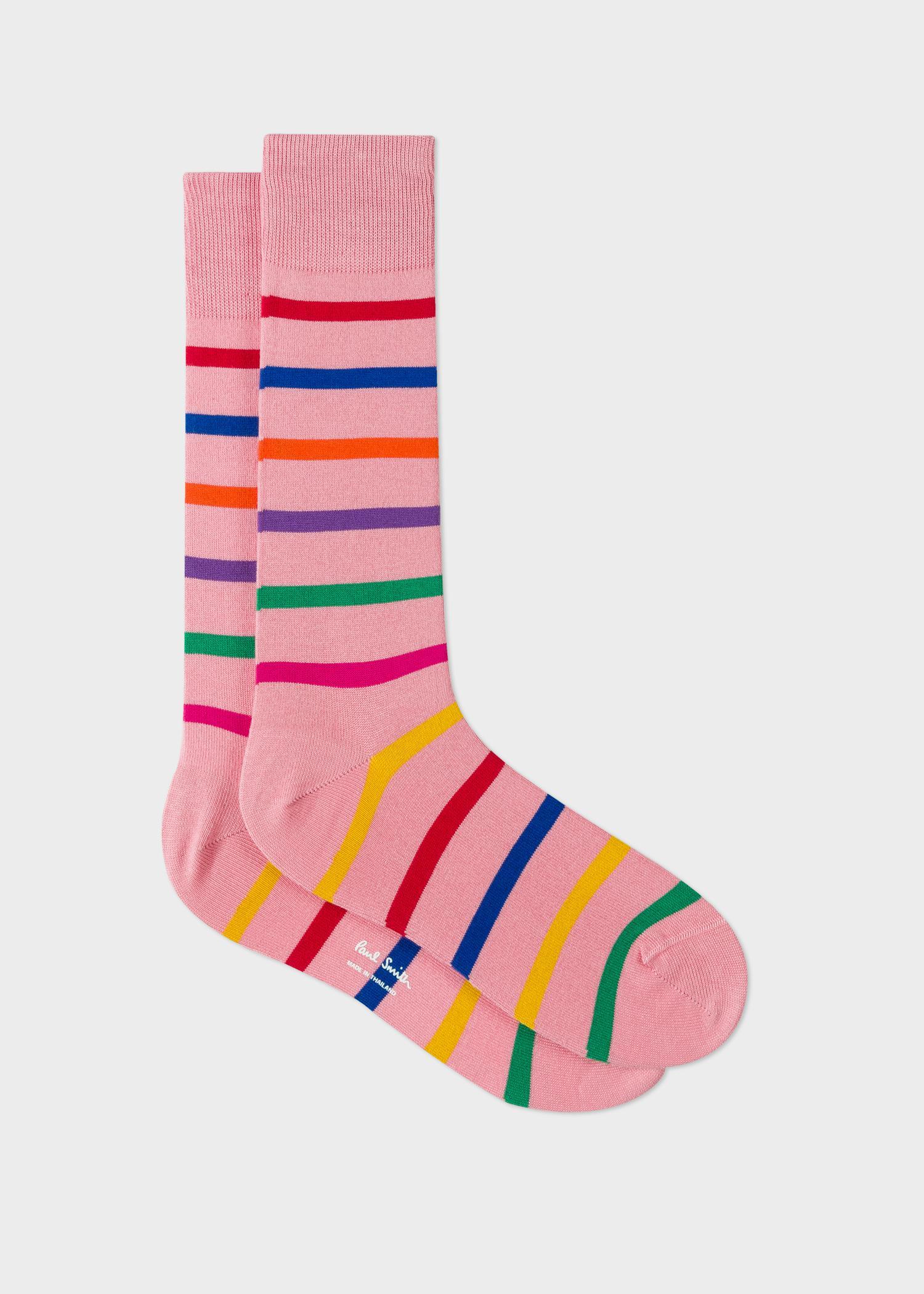 4937211aa46 Lyst - Paul Smith Pink Multi-Colour Stripe Socks in Pink for Men