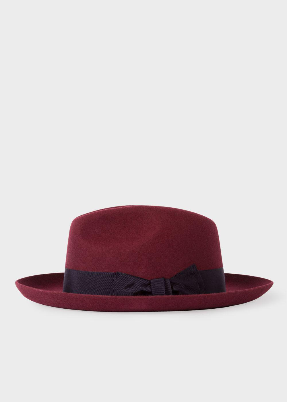 ed3ff83fc703af Paul Smith Men's Burgundy 'mayfair' Wool Fedora Hat in Red for Men ...