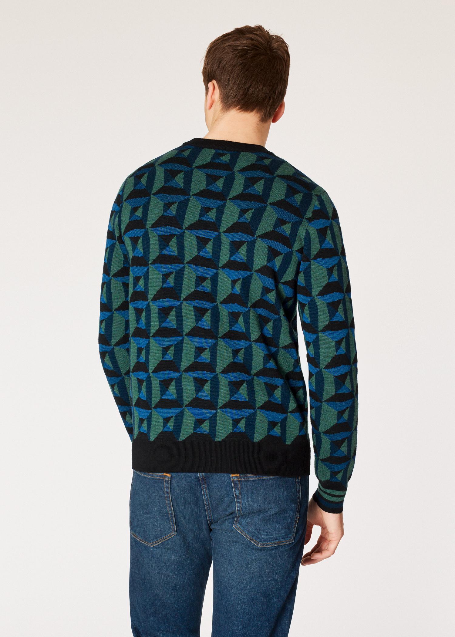 af2ffe79ab Lyst - Paul Smith Blue And Green Geometric Merino Wool-blend Sweater ...