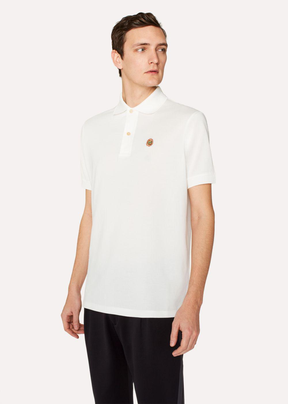 Lyst Paul Smith Men 39 S Slim Fit White Cotton Piqu Polo
