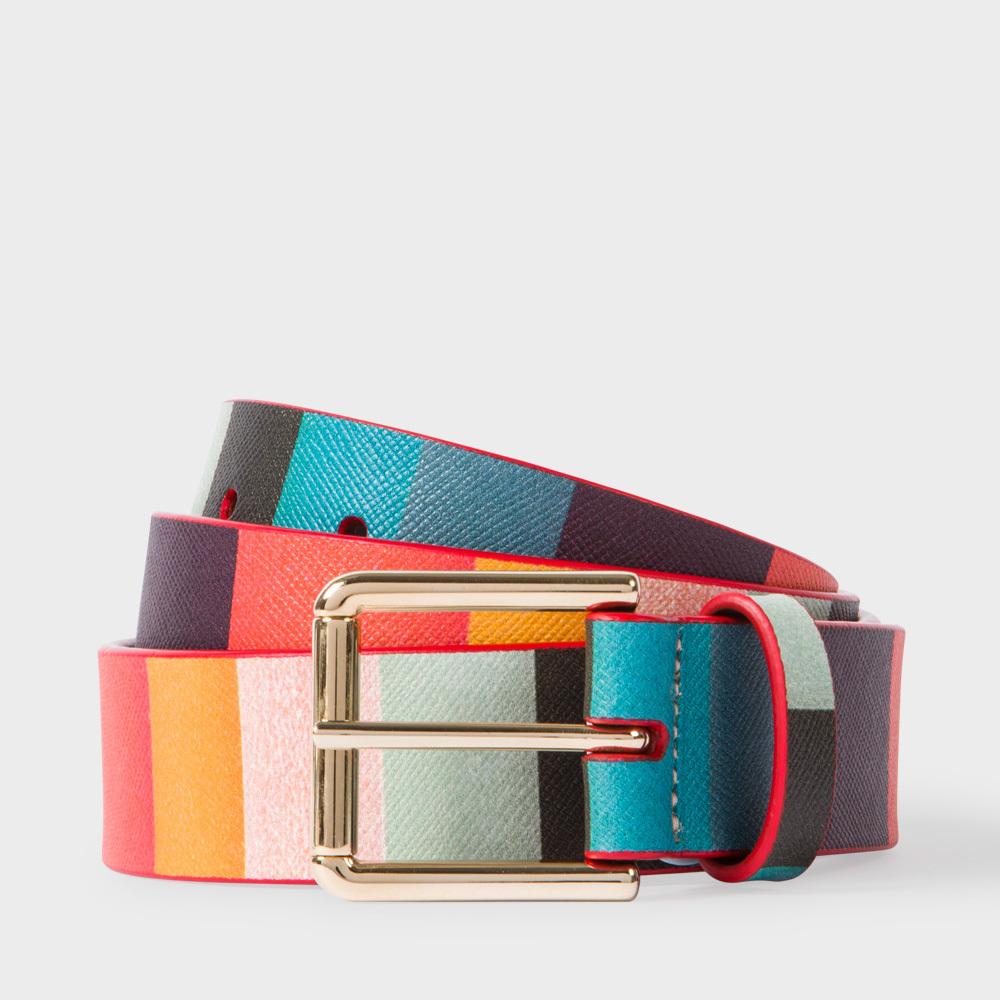 paul smith s artist stripe print leather belt in