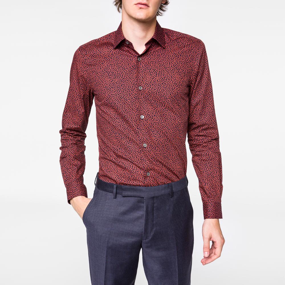 Lyst paul smith men 39 s slim fit 39 lips 39 print cotton shirt for Slim fit cotton shirts