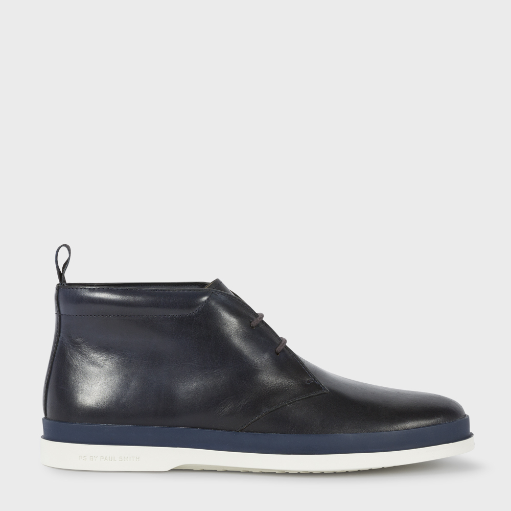 paul smith s navy leather inkie chukka boots in blue