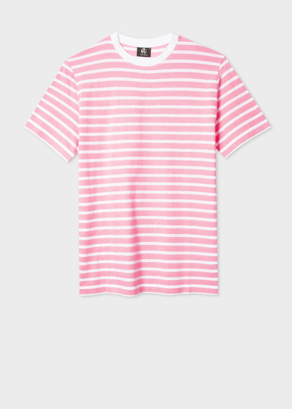 Paul Smith Men 39 S Pink And White 39 Zig Zag 39 Stripe T Shirt