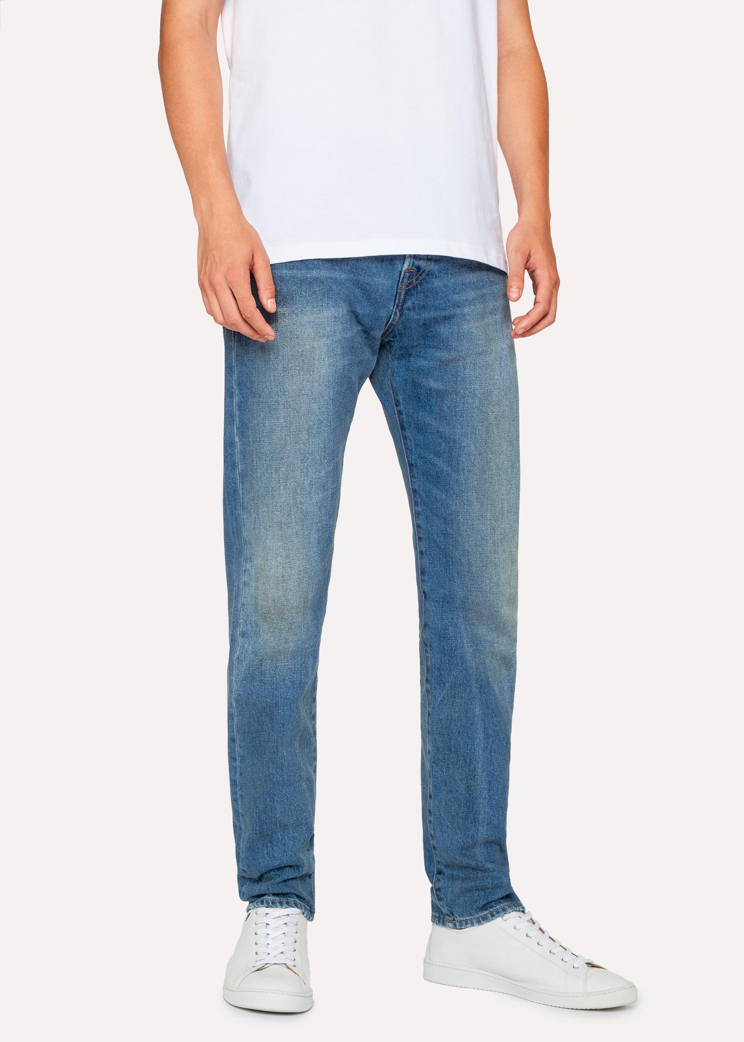 efab9cc732fd Paul Smith. Men s Blue Slim-Standard Antique-Wash 12.5oz  Rigid Western  Twill  Denim Jeans
