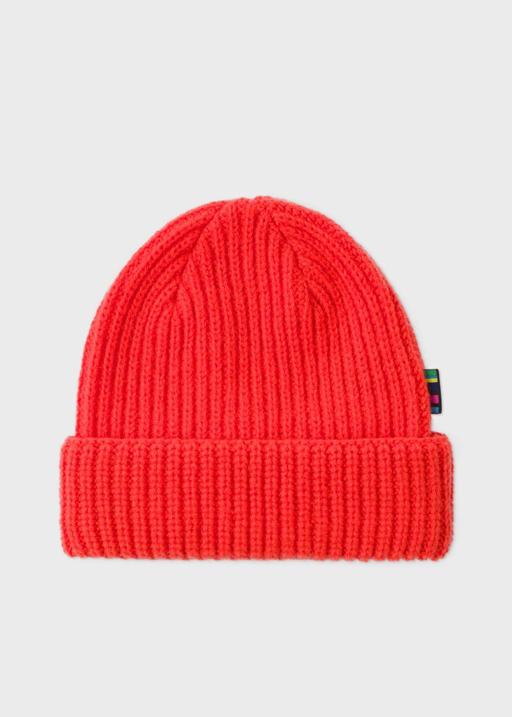 be9b1418d00 Lyst - Paul Smith Men s Neon Red Wool Beanie Hat in Red for Men