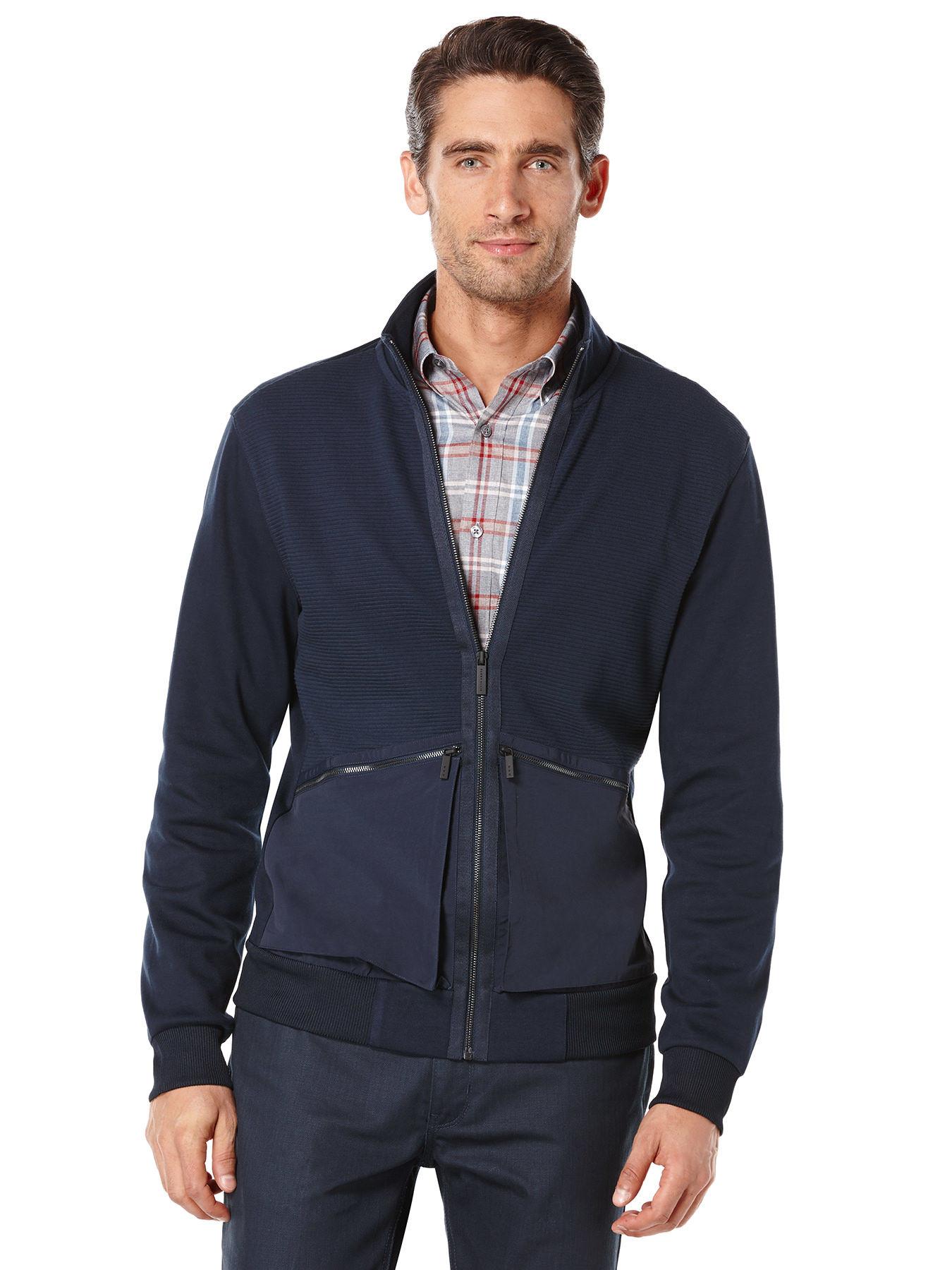 Perry Ellis Mix Media Full Zip Jacket In Blue For Men