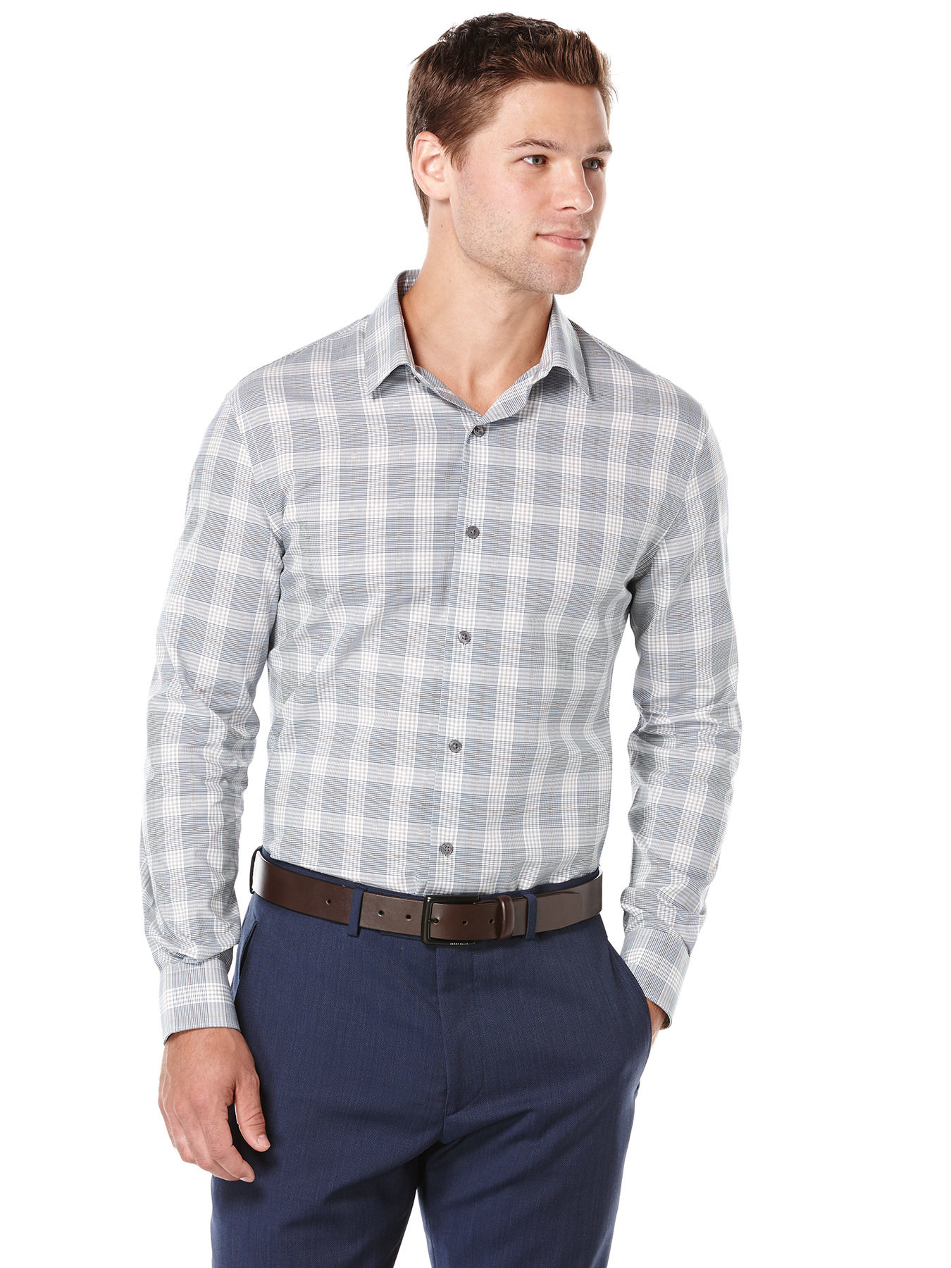 Perry Ellis Bold Mini Check Dobby Shirt In Multicolor For
