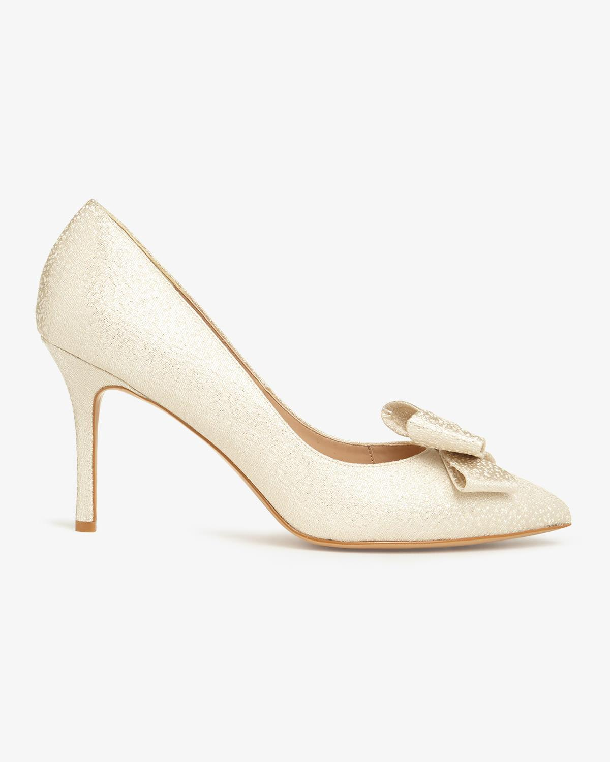 1d98af41227 Phase Eight Ariel Metallic Bow Pointed Court Shoes in White - Lyst