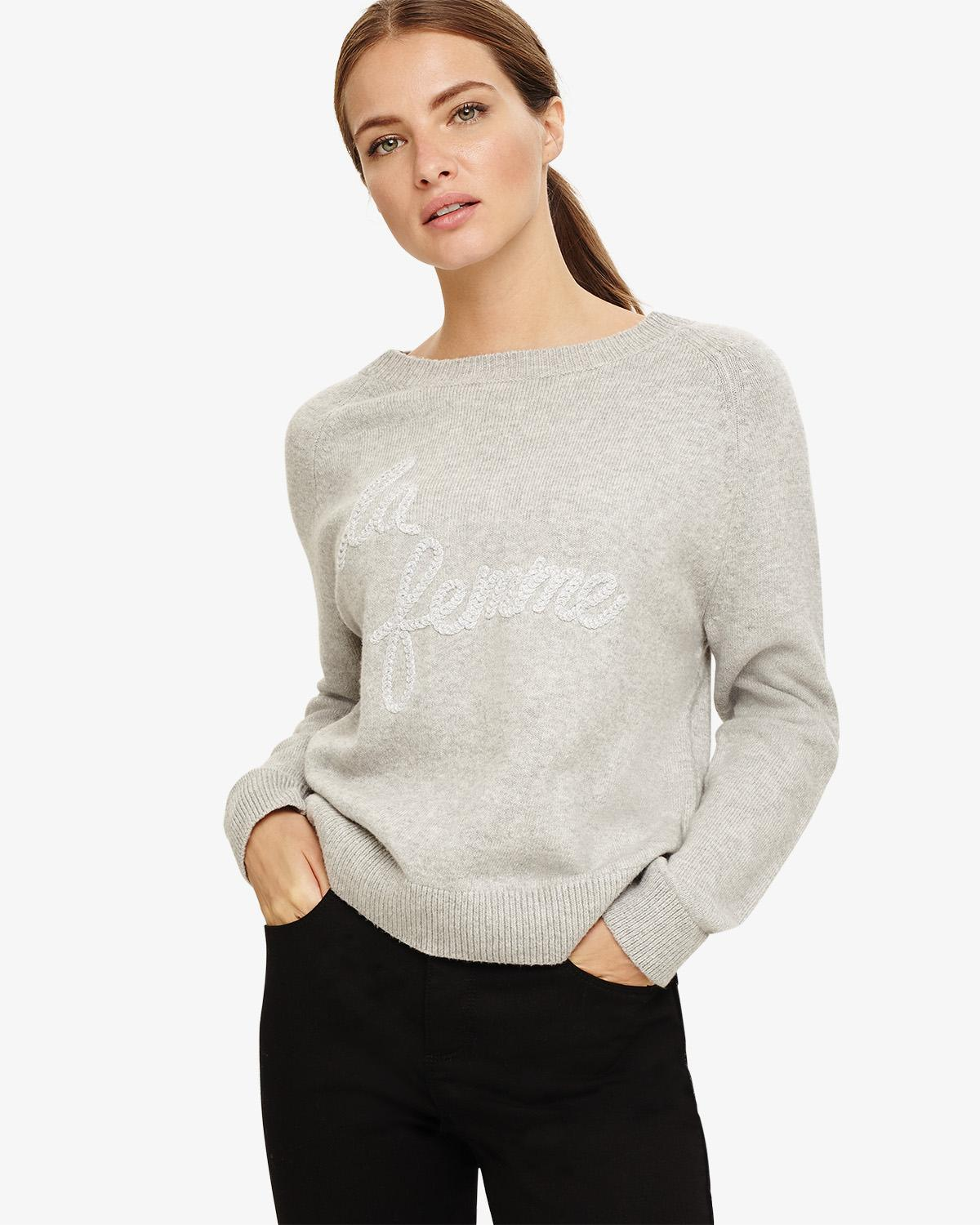 0a5c4716e73 Phase Eight Grey La Femme Logo Knit Jumper in Gray - Save 16% - Lyst