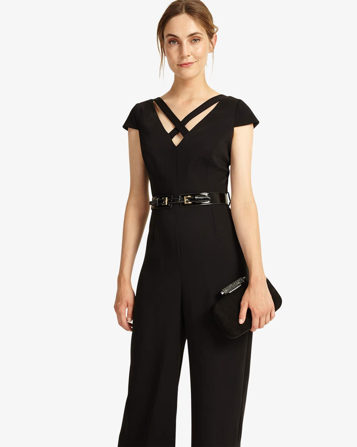 65f1229aedd Phase Eight Anya Belted Jumpsuit in Black - Lyst