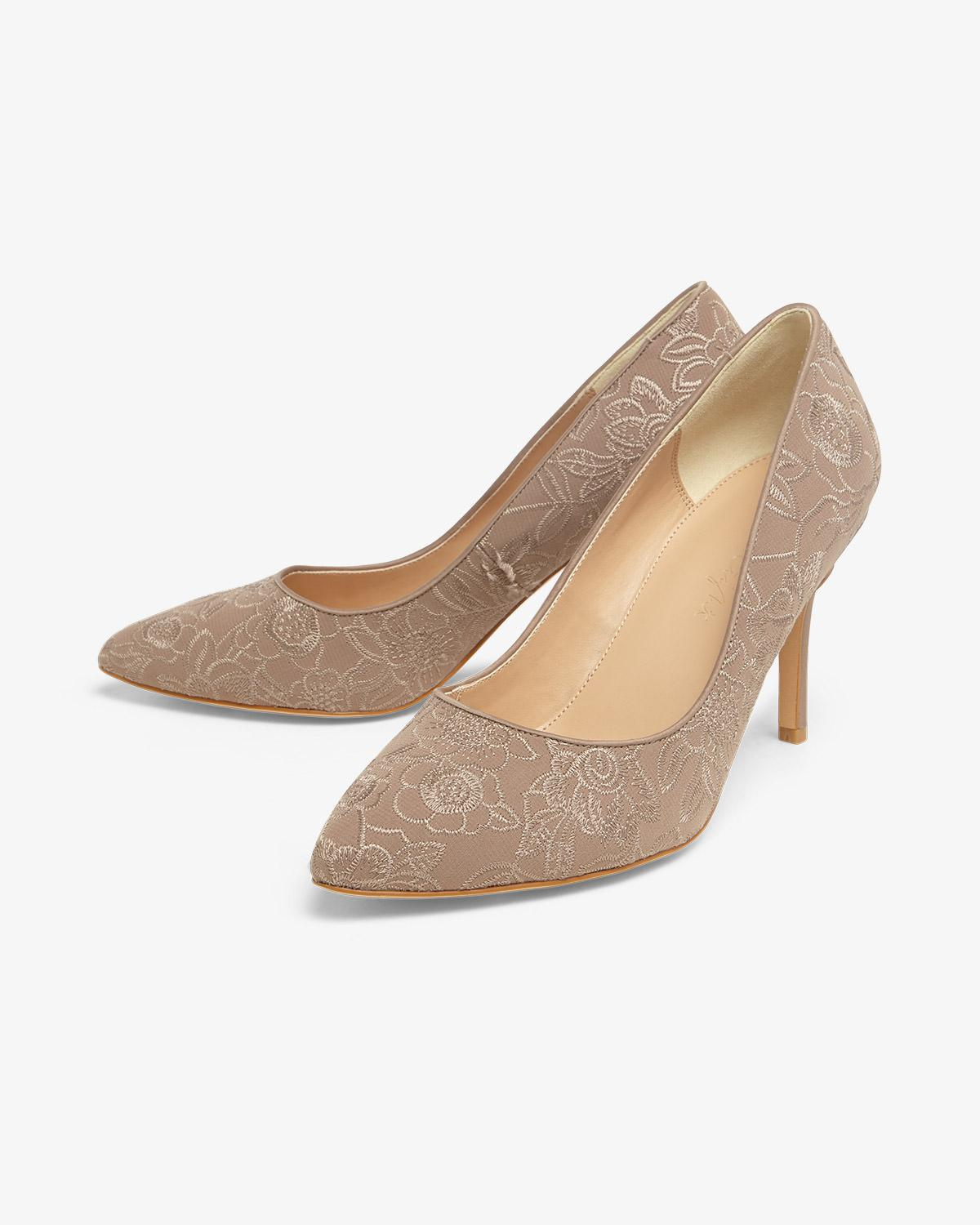 6b158a2ca6a Lyst - Phase Eight Ceri Embroidered Lace Point Court Shoes
