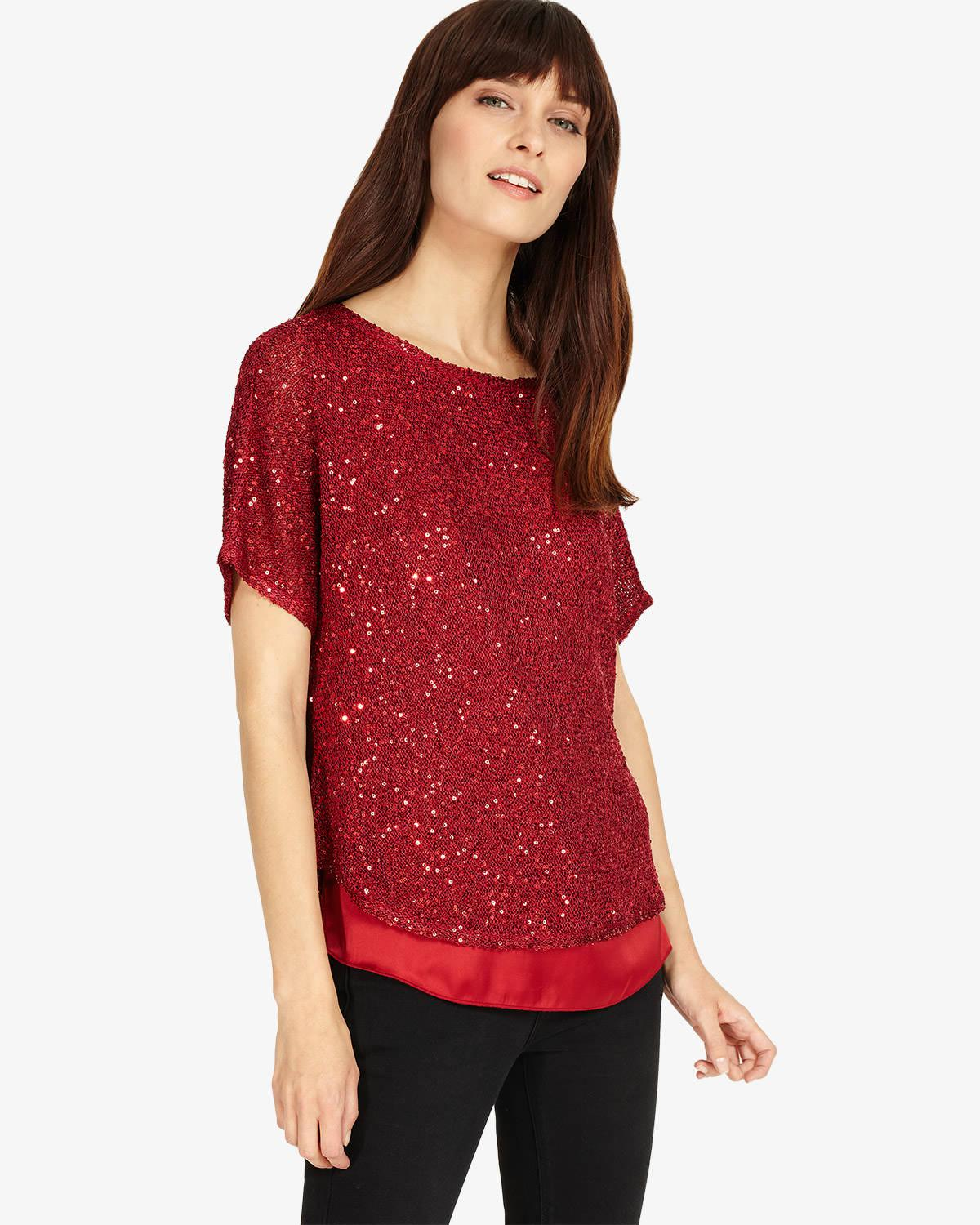 ee2bbf35c5b Lyst - Phase Eight Sequin Macey Knit in Red