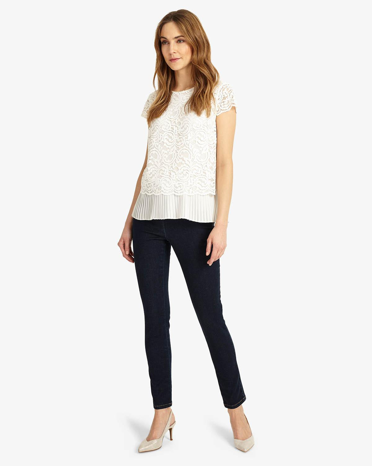 5a7a3697b10b17 Phase Eight - White Lexie Pleated Lace Blouse - Lyst. View fullscreen