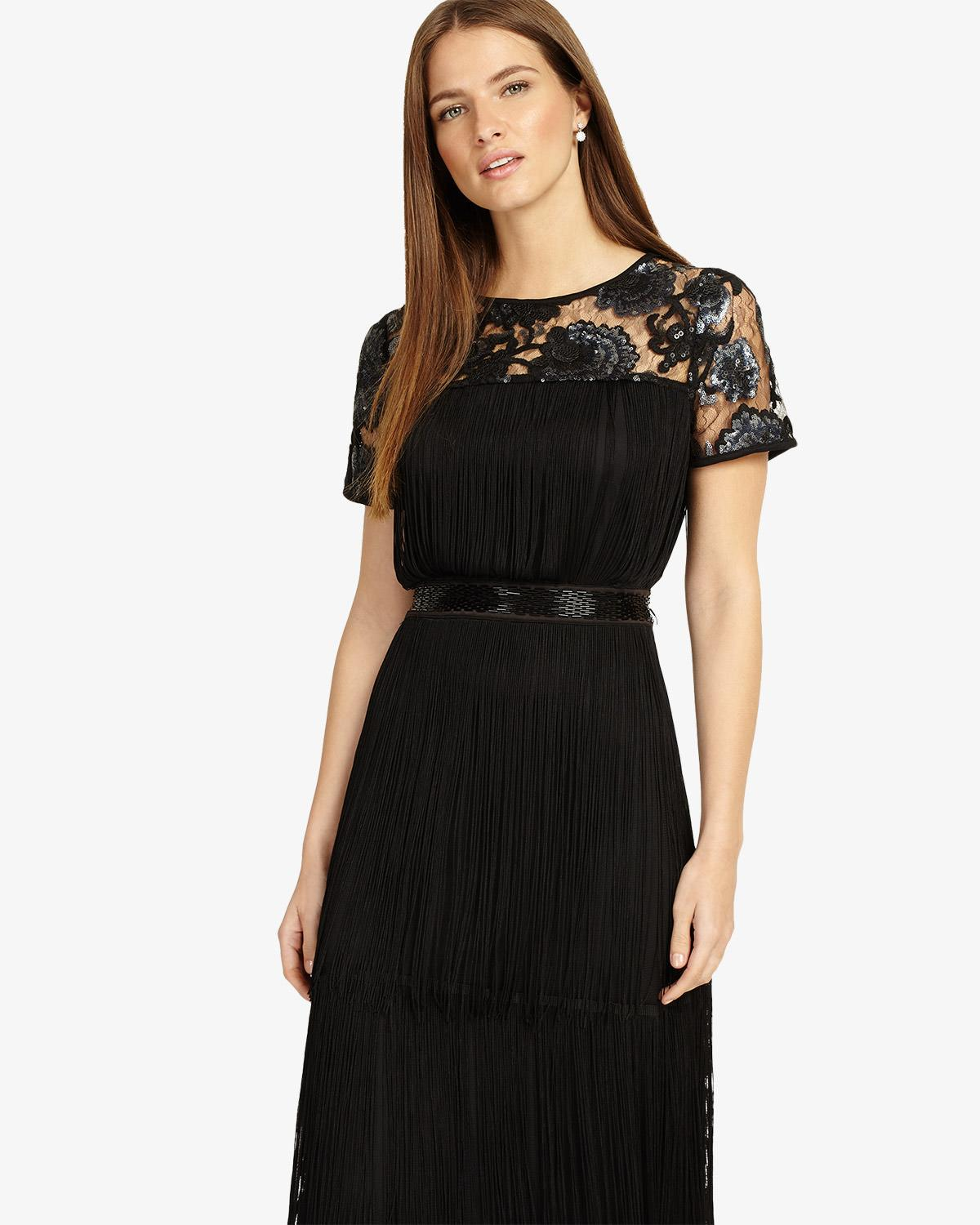 38ec6e6107 Phase Eight Malene Fringe Full Length Dress in Black - Lyst