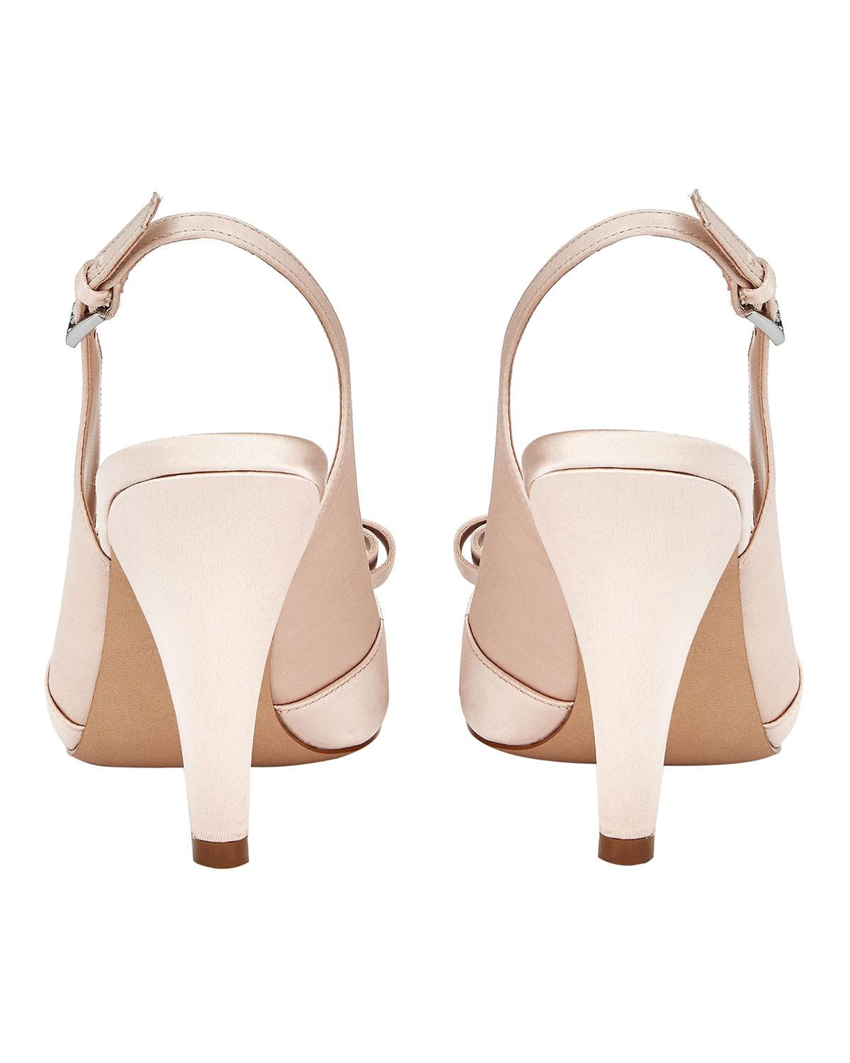 1ca699f9f82 Lyst - Phase Eight Belle Satin Peep Toe Shoes in Pink