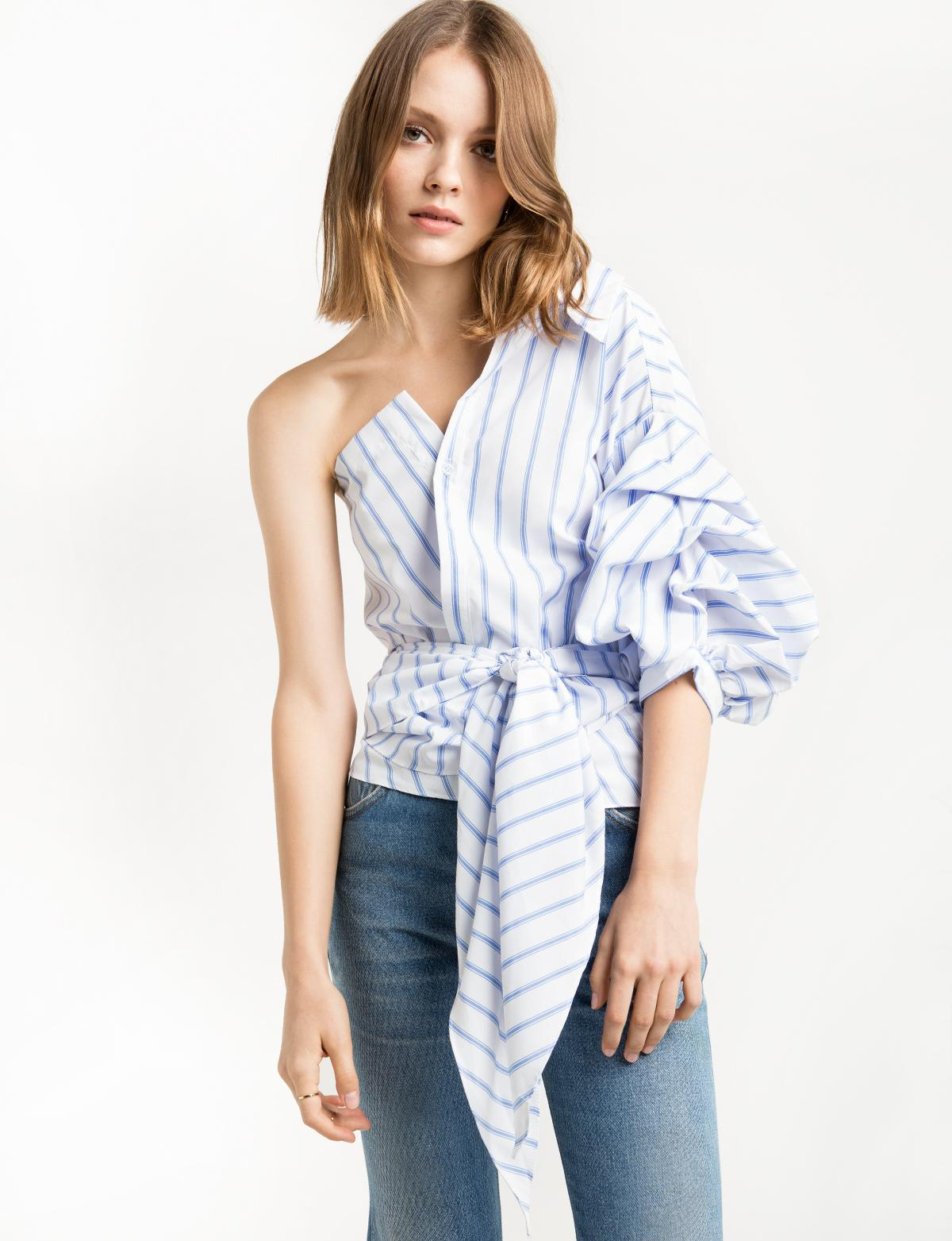 lyst pixie market white one shoulder wrap balloon striped shirt in white. Black Bedroom Furniture Sets. Home Design Ideas