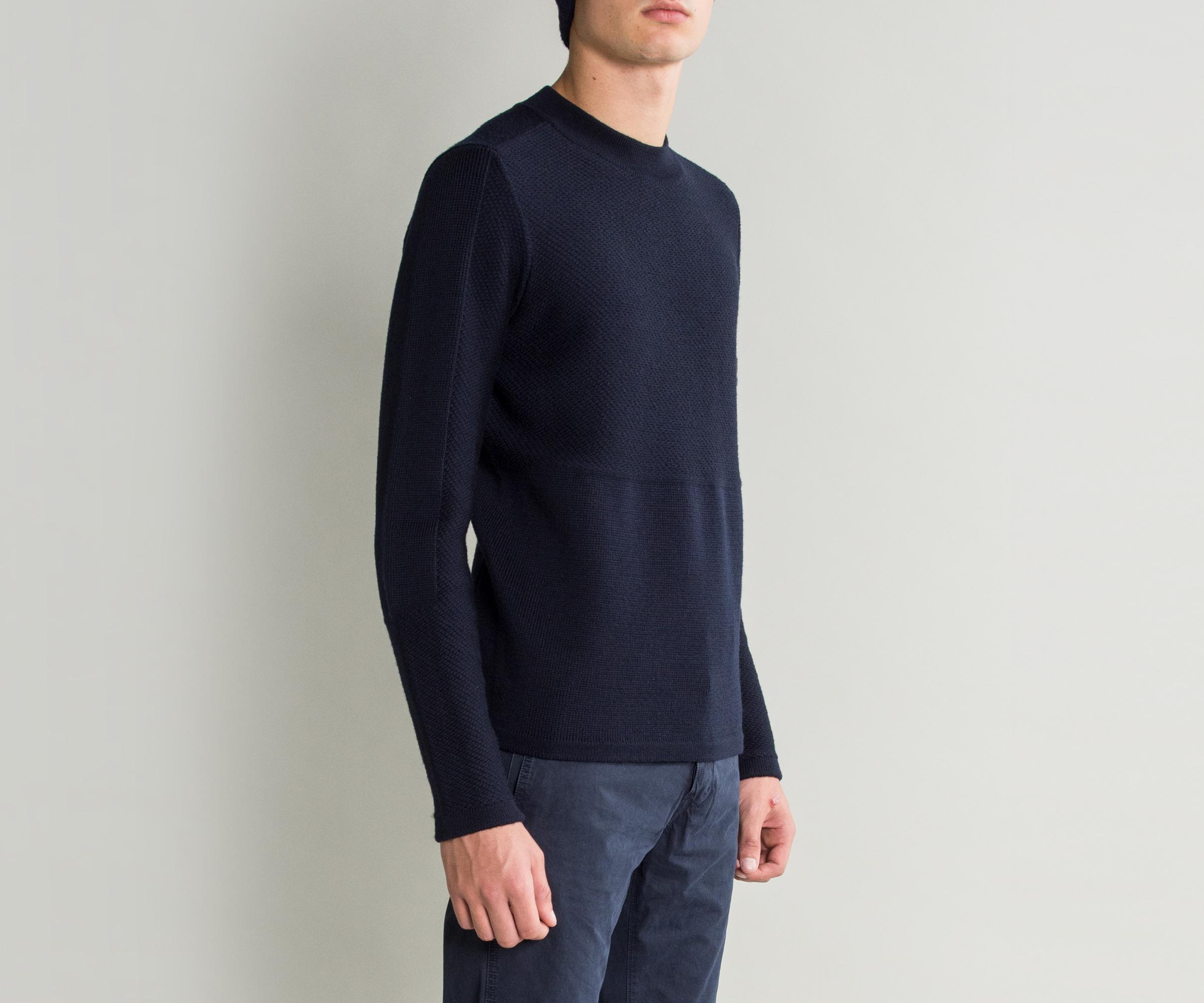 Lyst Stone Island Ghost Piece Crew Neck Knit Navy In Blue For Men