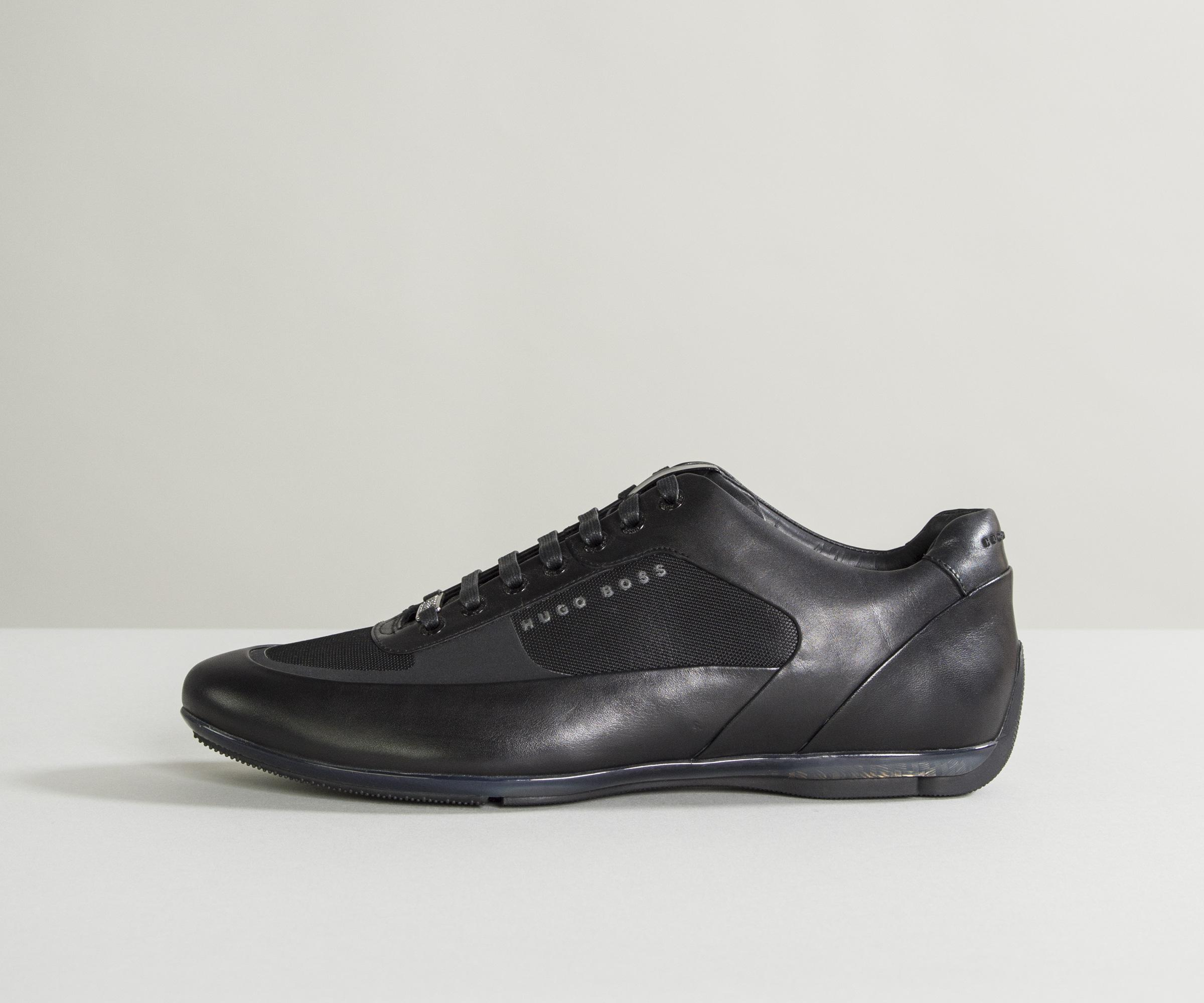 a06df31f1 BOSS 'hbracing_lowp_ltny1' Leather Trainers Black in Black for Men ...