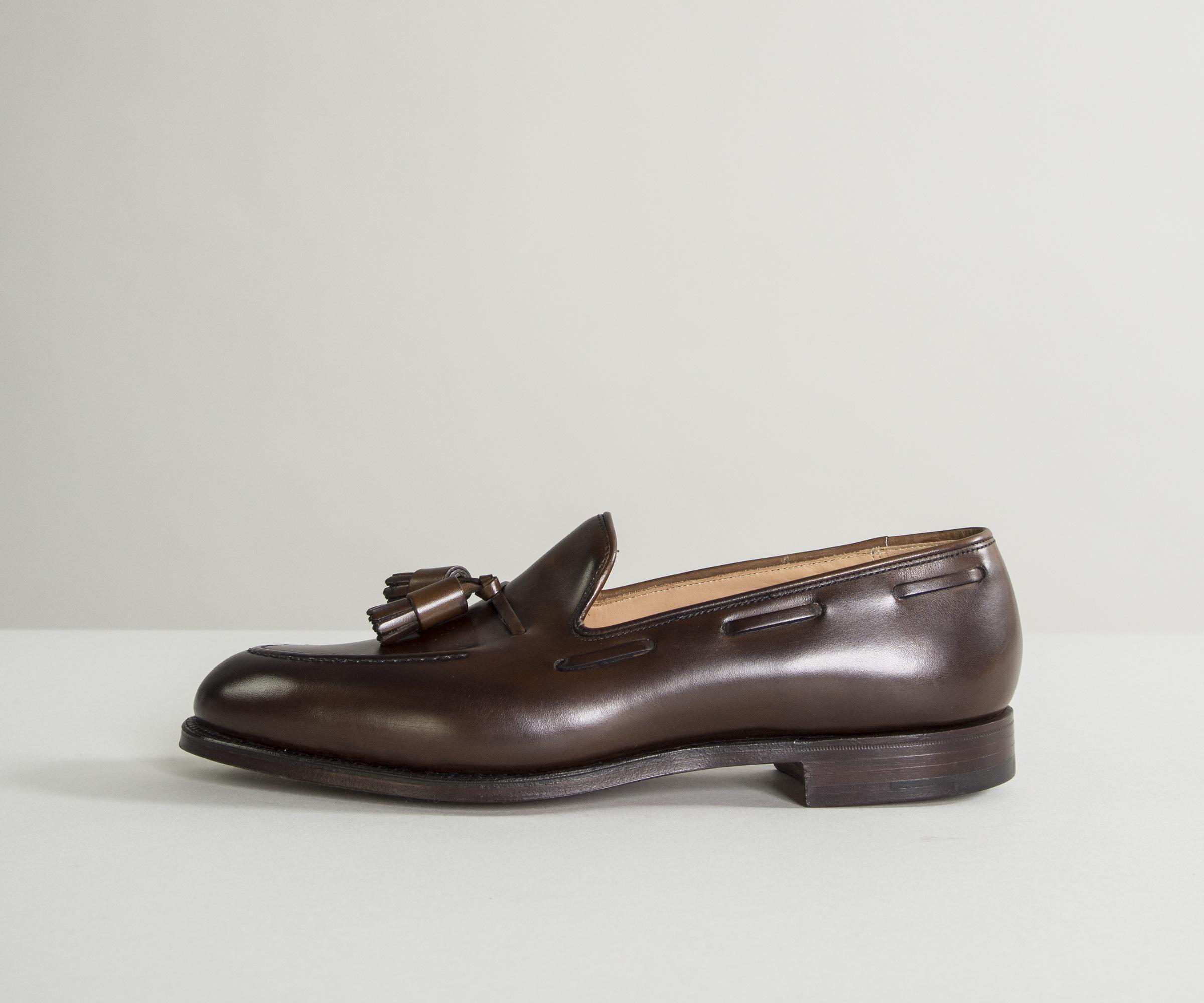 87368c61aca Crockett and Jones. Men s  cavendish  Burnished Calf Leather Loafers Dark  Brown