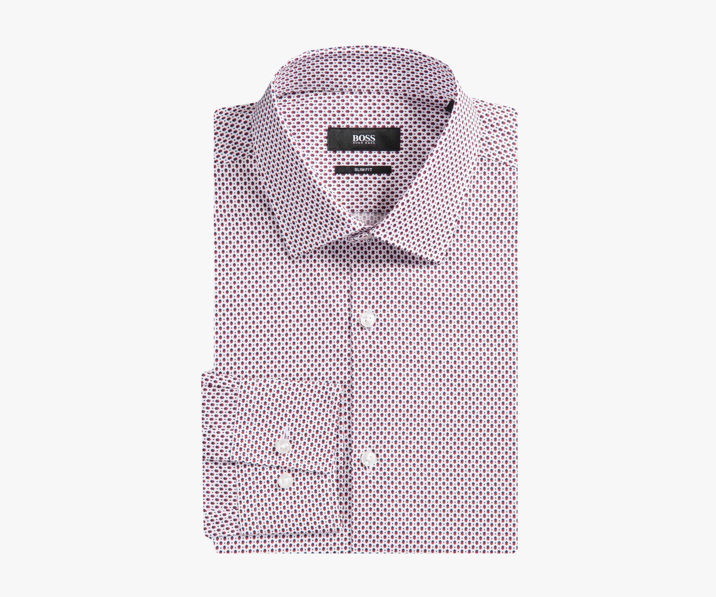 b57e141db BOSS 'jenno' Diamond Print Shirt Red/navy for Men - Lyst