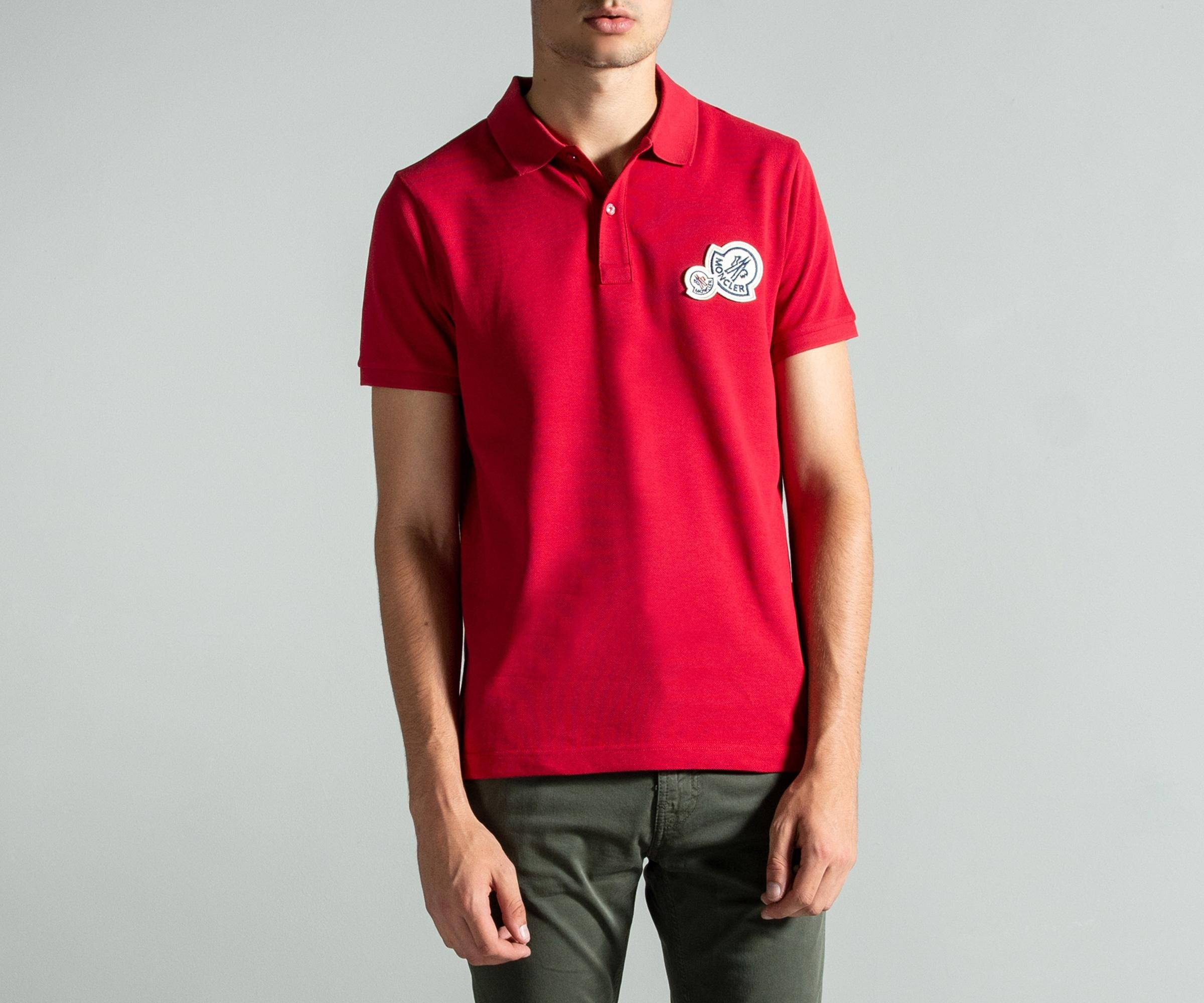 fa2452f803f3f Moncler - Double Logo 2-button Polo Red for Men - Lyst. View fullscreen