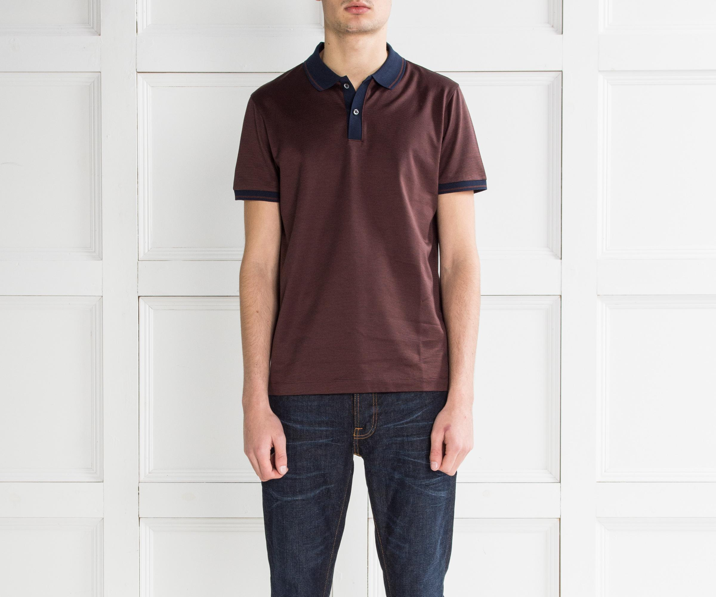 3f064ae37 Lyst - BOSS 'phillipson' Contrast Collar Polo Maroon in Purple for Men