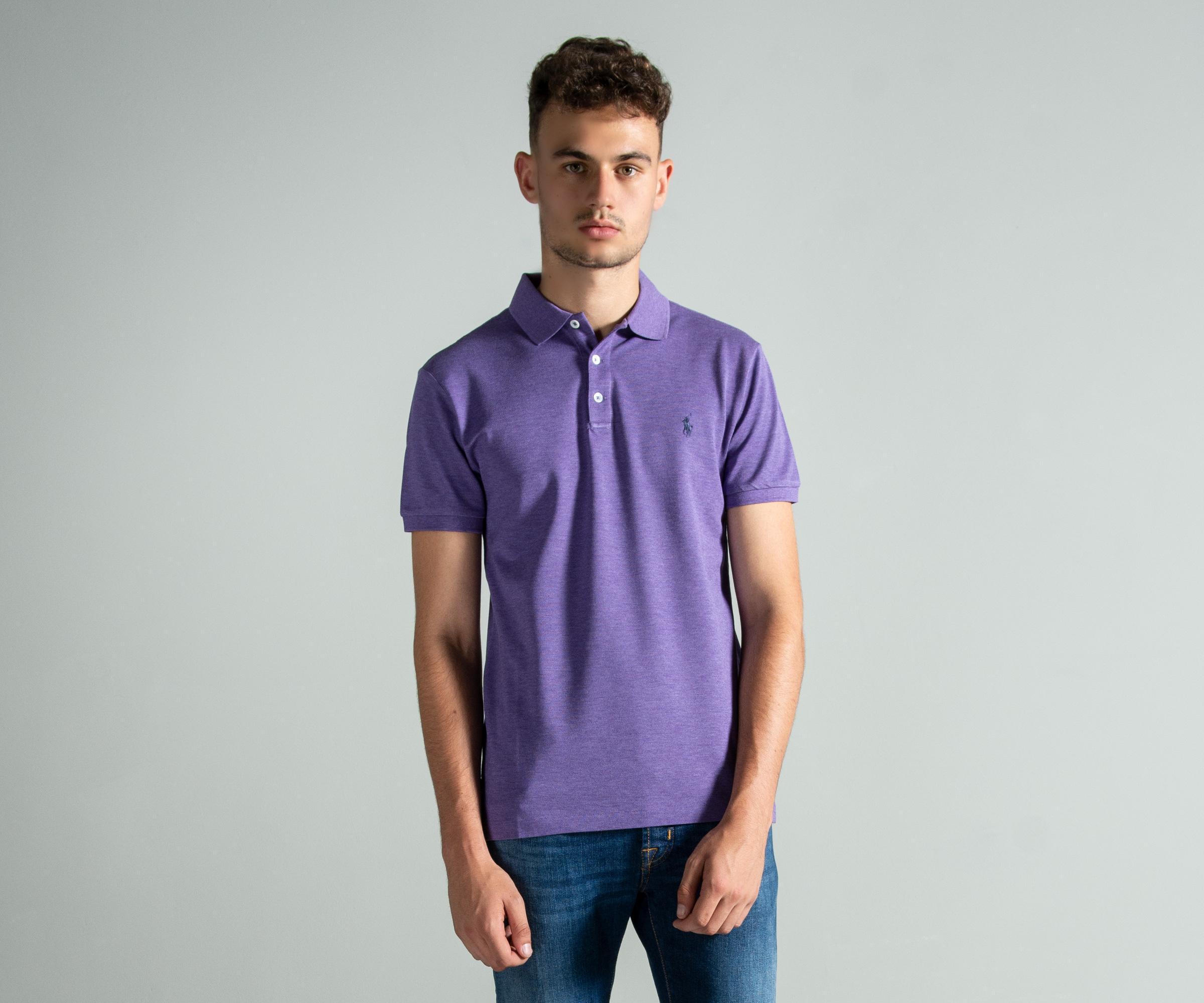 b669592ff Polo Ralph Lauren - Slim Fit Stretch Mesh Polo Purple for Men - Lyst. View  fullscreen