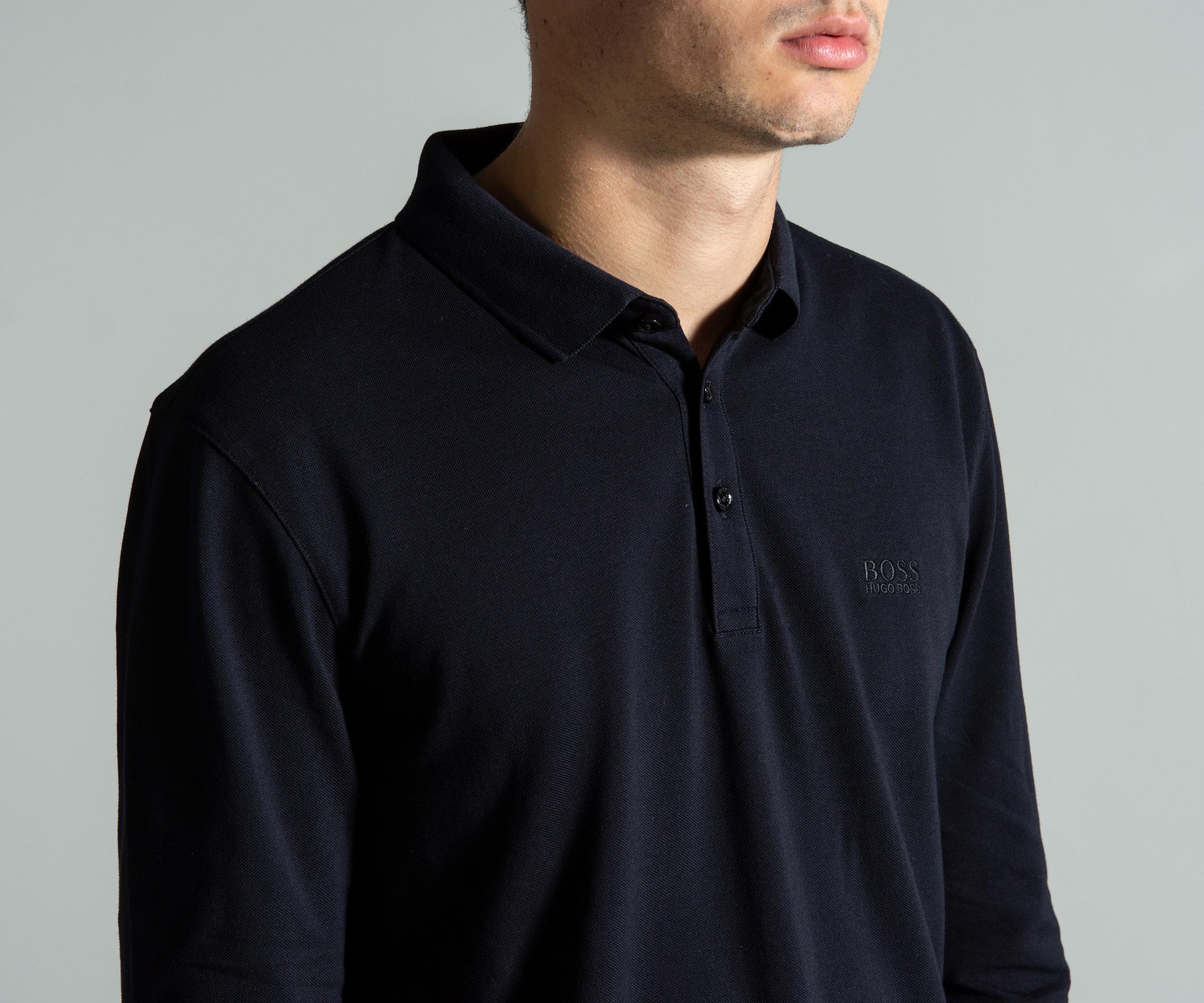 017e89c73 BOSS - Blue 'pado 10' Long Sleeved Interlock Cotton Polo Navy for Men -.  View fullscreen