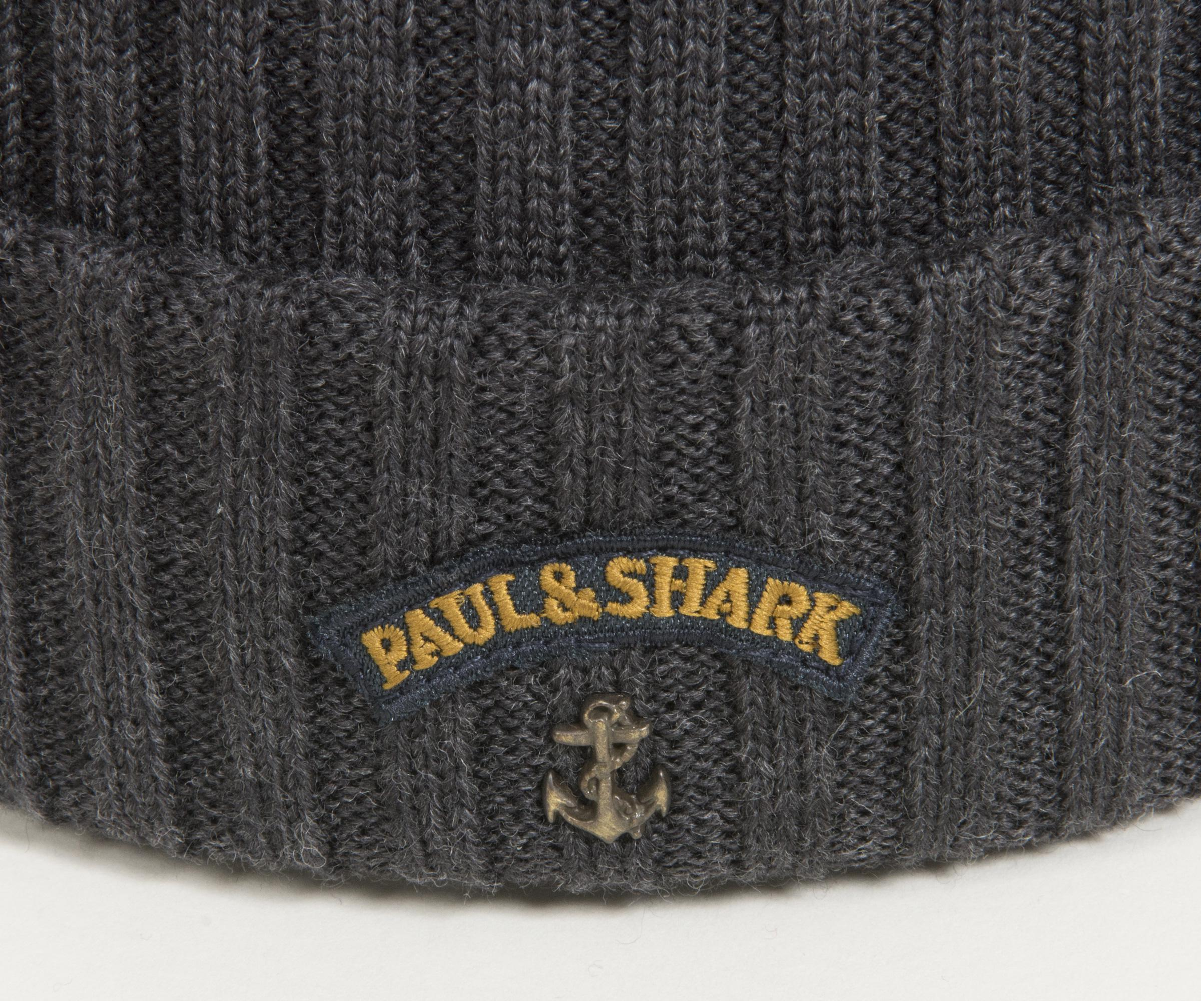 42311913770 Paul   Shark Classic Ribbed Beanie With Anchor Logo Grey in Gray for ...