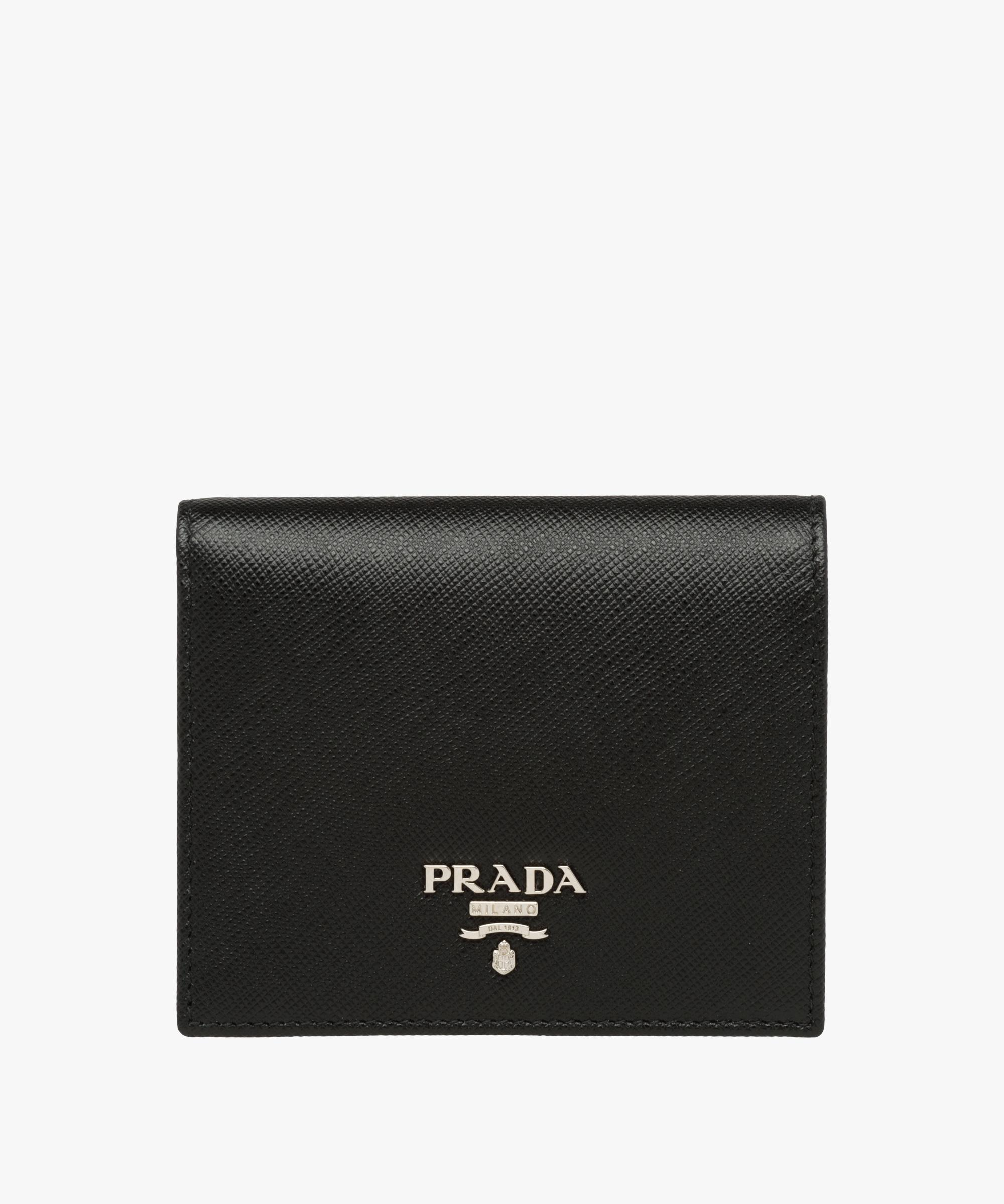 c041cde0a08895 Prada Small Saffiano Leather Wallet in Black - Lyst