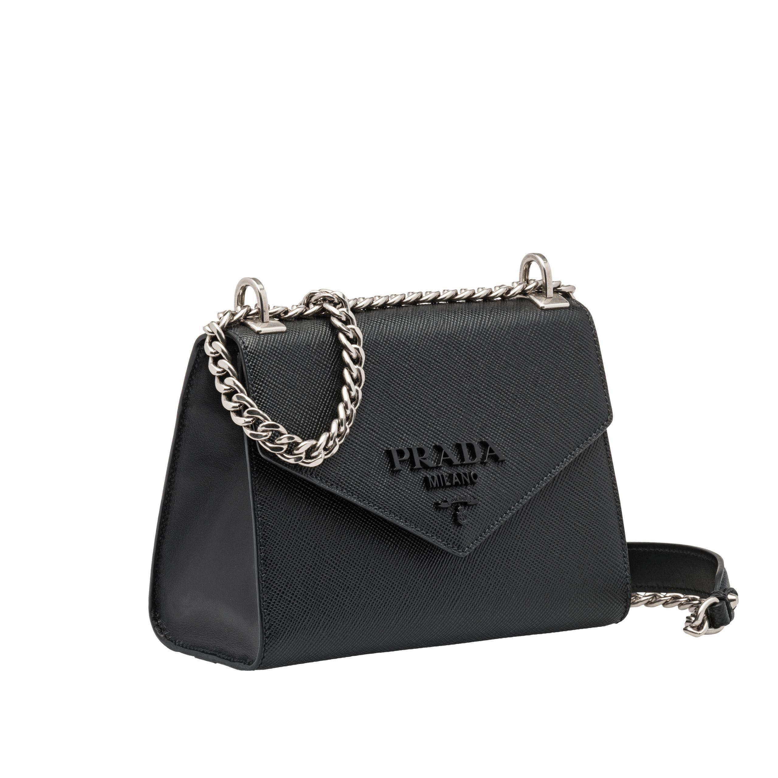 2d72acffc2e6 Lyst - Prada Monochrome Saffiano Leather Bag in Black